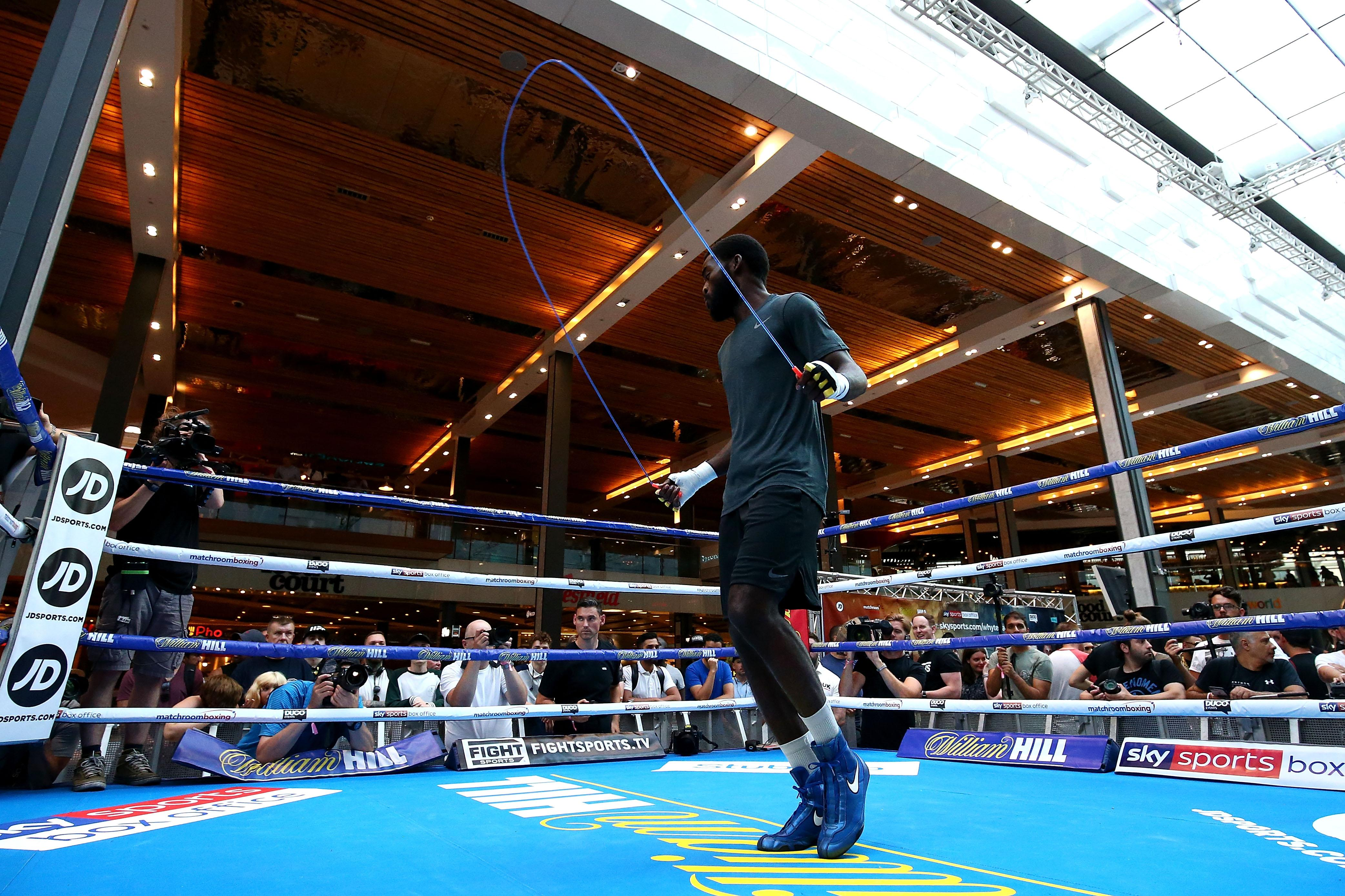 Dillian Whyte takes part in a public workout at Westfield in Stratford