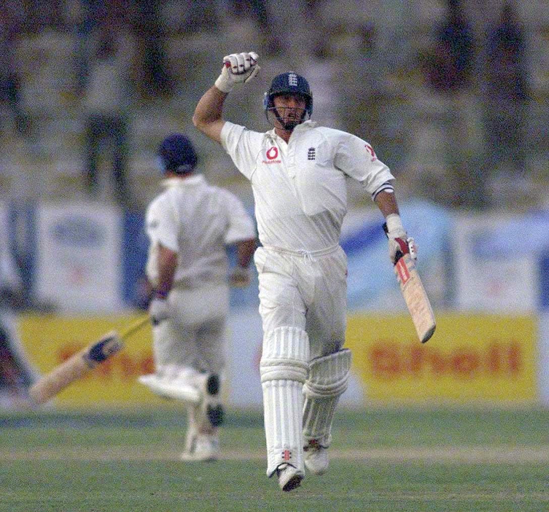 England captain Nasser Hussain celebrates after a win against Pakistan in Karachi