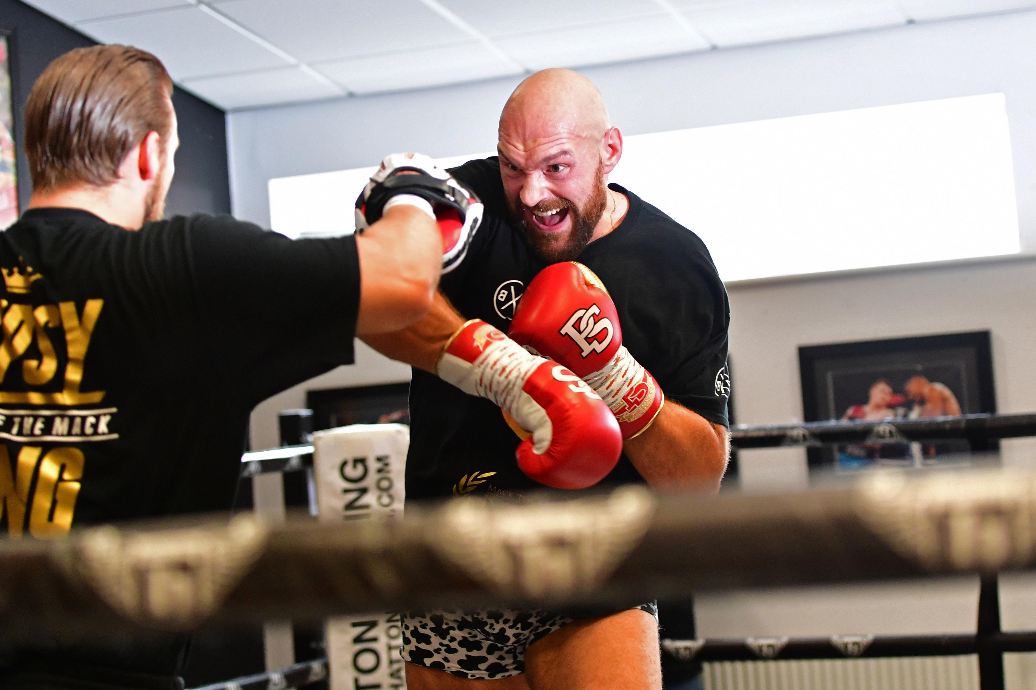 Fury is looking sharp in the gym as he prepares for his second comeback fight