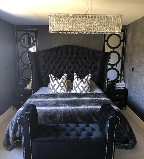 The master bedroom follows a monochrome colour scheme