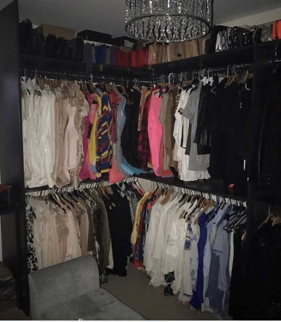 Danielle has a massive walk in wardrobe for all her clothes