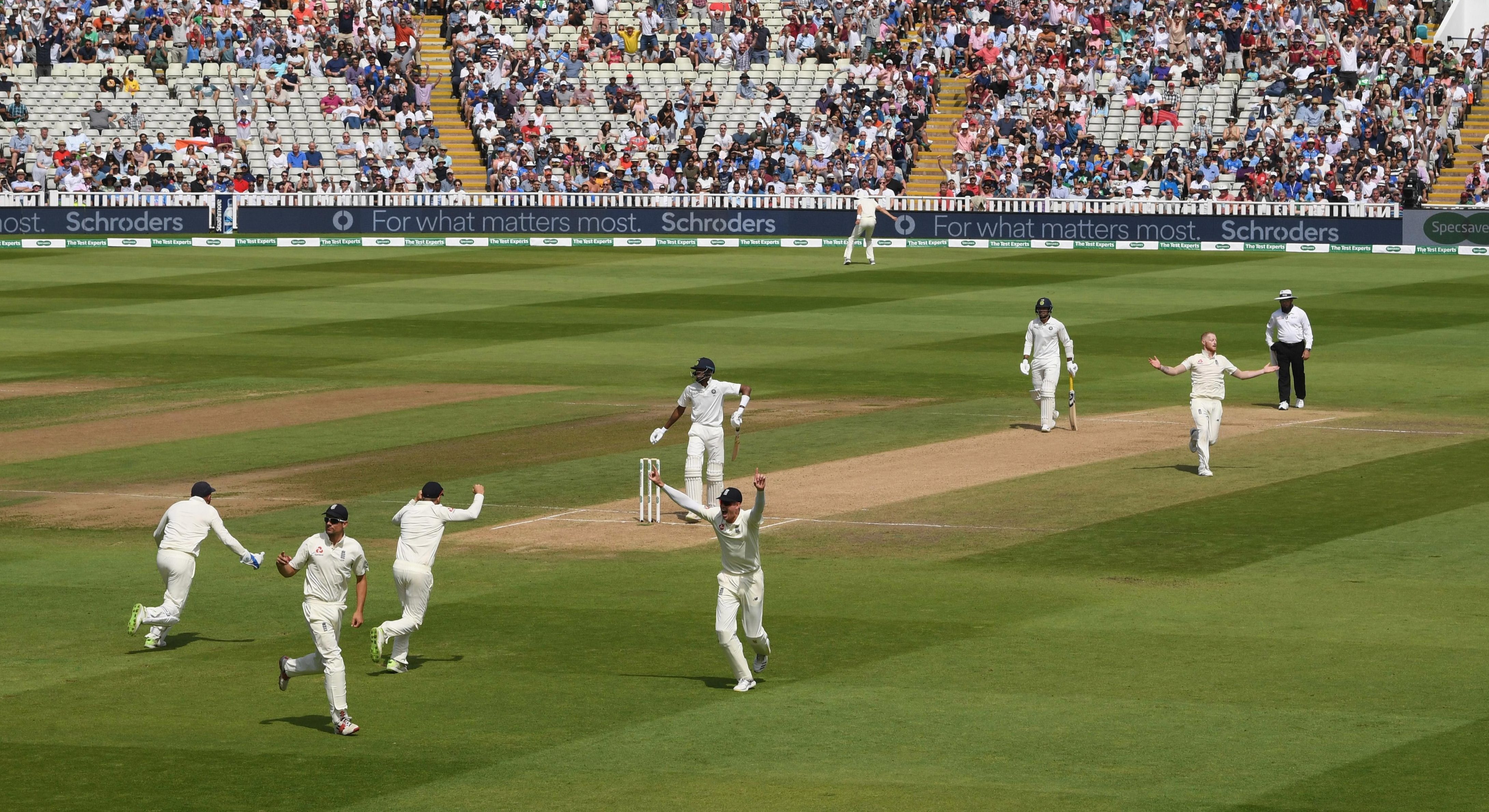 Ben Stokes took three wickets on day four with Alastair Cook holding onto the catch to dismiss Hardik Pandya and seal victory