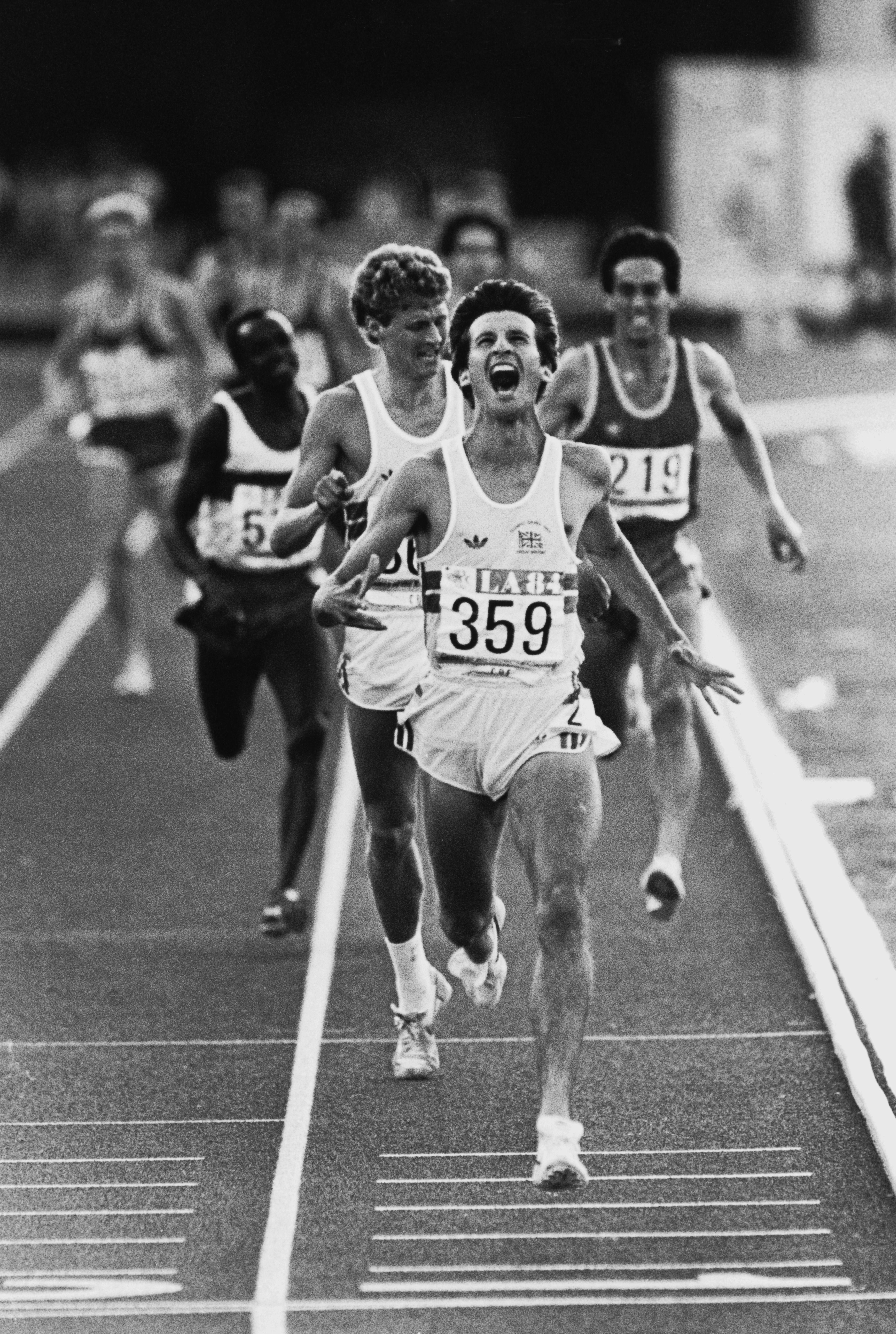 Coe winning the gold medal in the 1500m at the 1984 Olympics