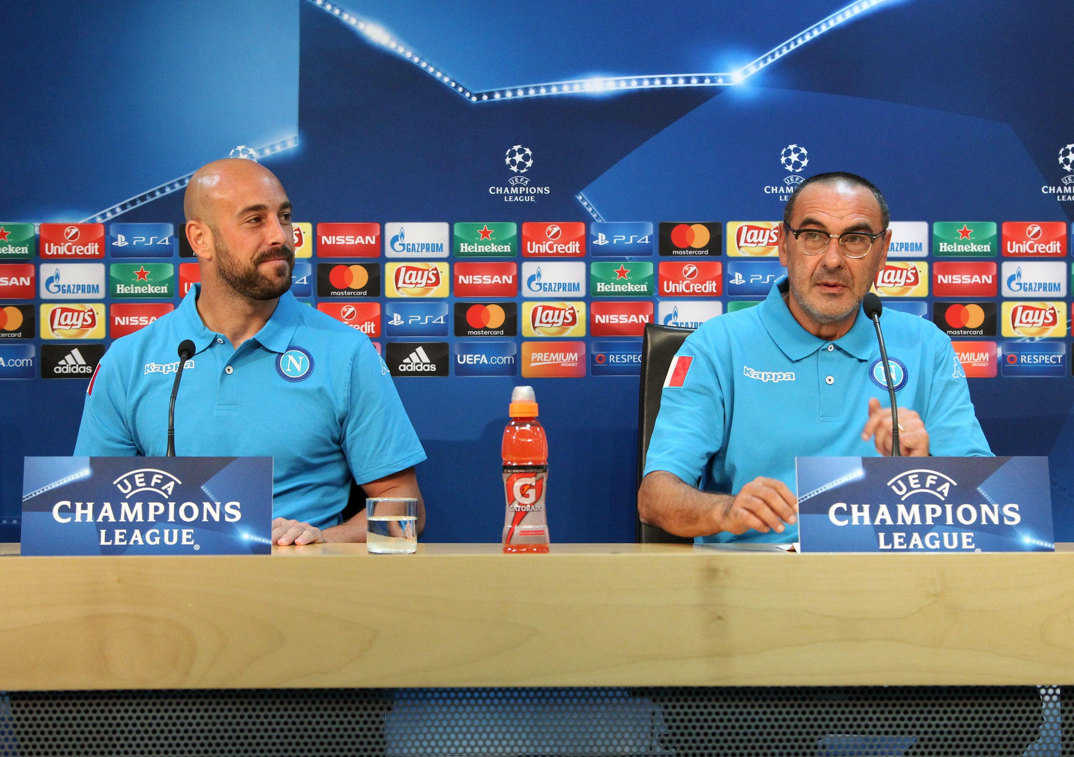 The Blues have revealed that Pepe Reina - pictured with new Chelsea boss Maurizio Sarri at Napoli - helped convince Arrizabalaga to move to England