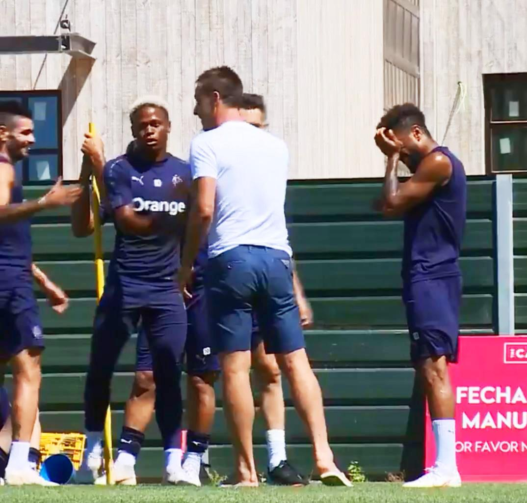 Terry was spotted speaking to some of the Marseille players including former team-mate Jordan Amavi