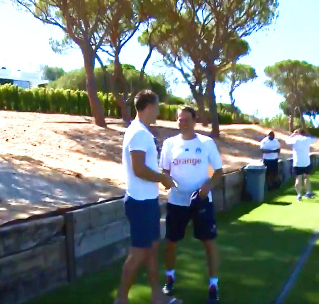 Terry was welcomed by the Marseille coaching staff as he watched the French side train