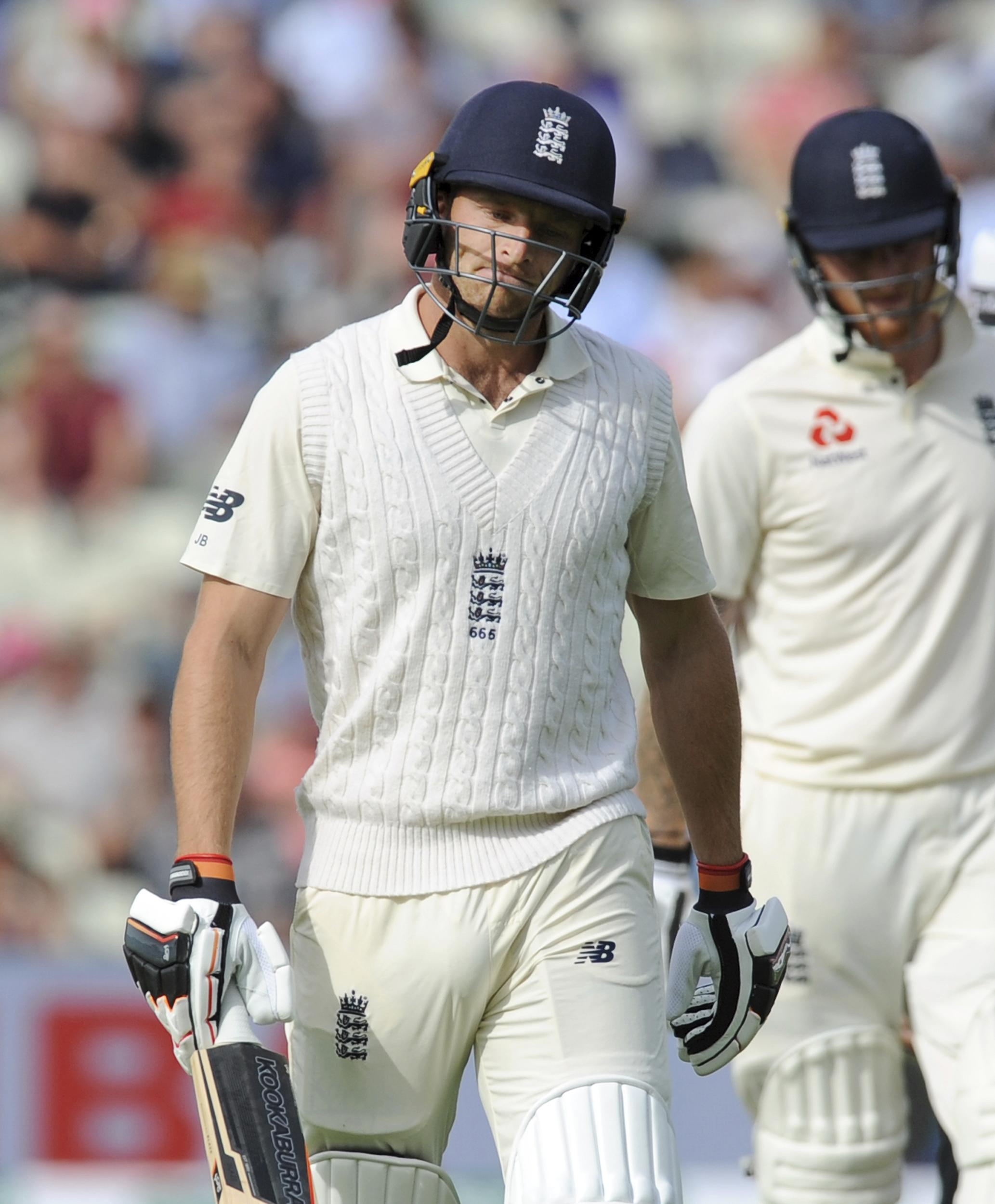 Jos Buttler lasted just two balls before he was dismissed for a duck as England collapsed following a steady start