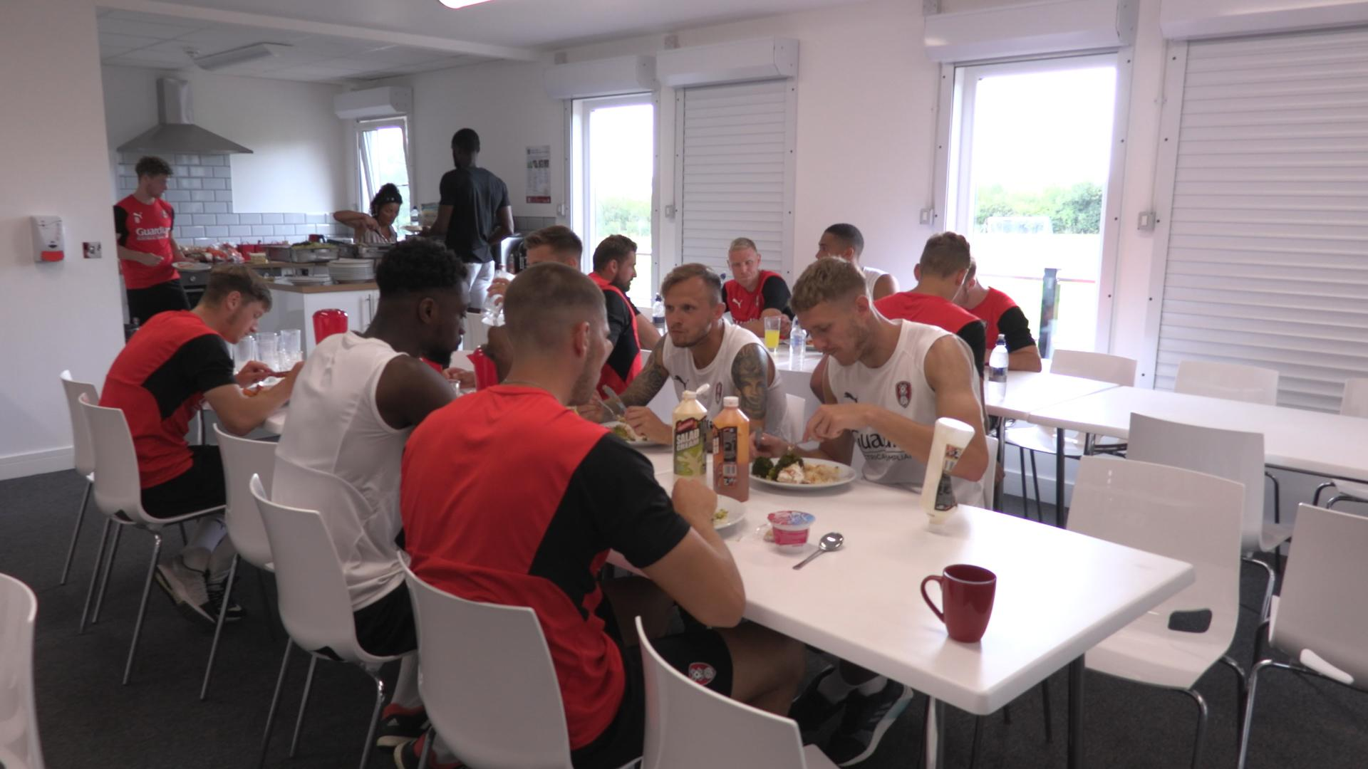 Rotherham players in the club canteen at lunchtime