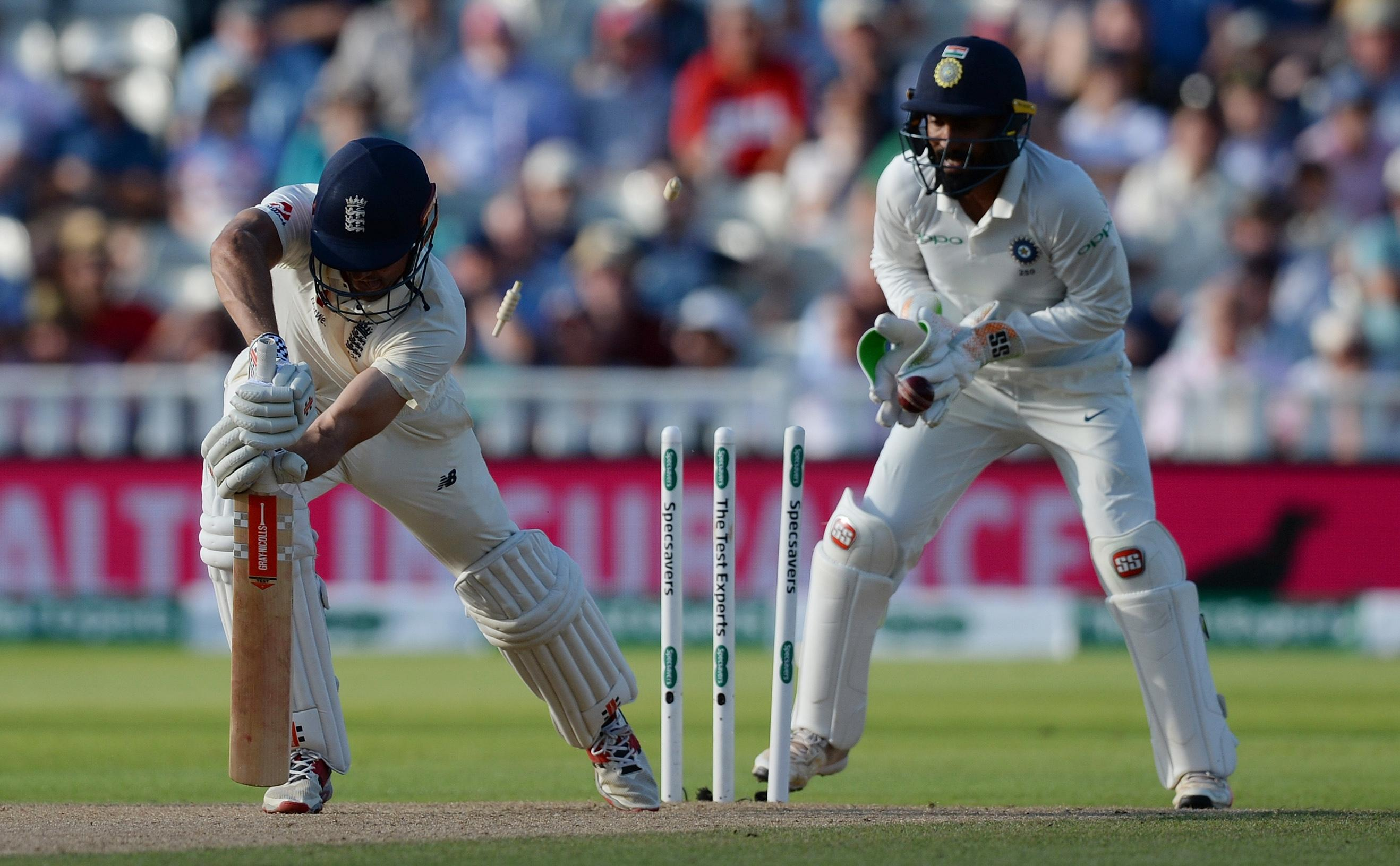 Alastair Cook was bowled for a duck as India took a crucial late wicket