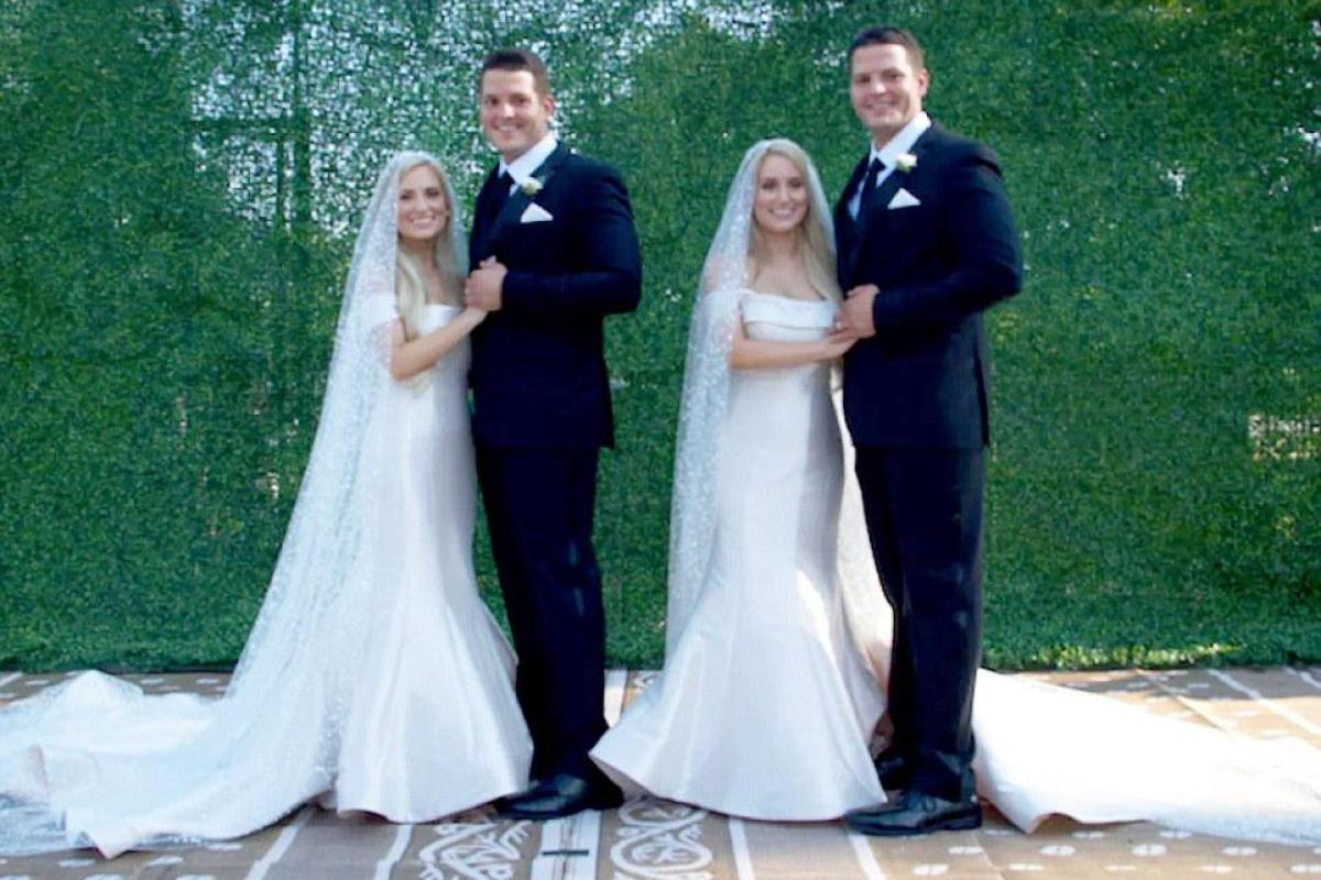 Identical twin sisters marry identical twin brothers by twin ministers in town called Twinsburg