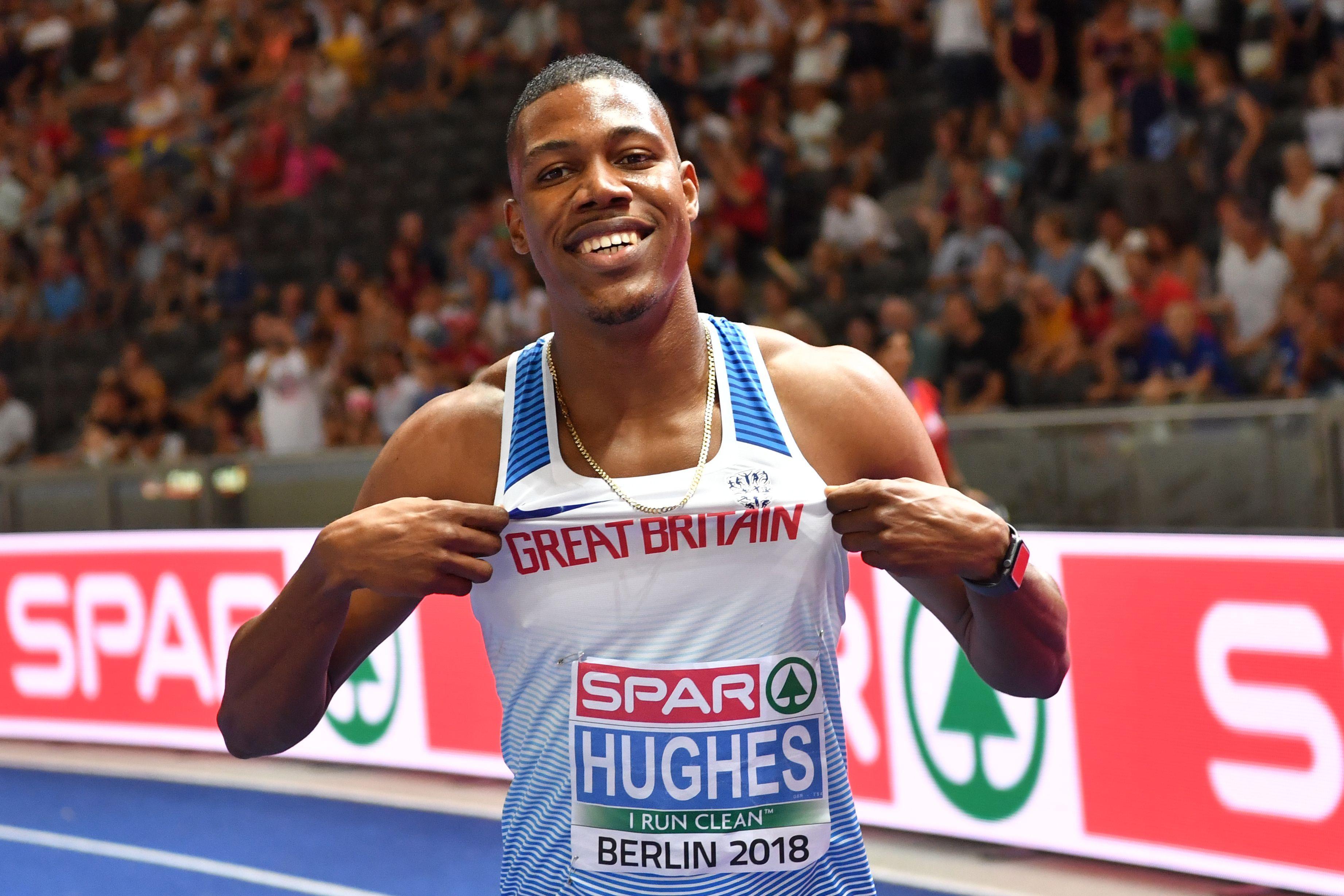 Zharnel Hughes celebrates winning European 100m gold for Great Britain