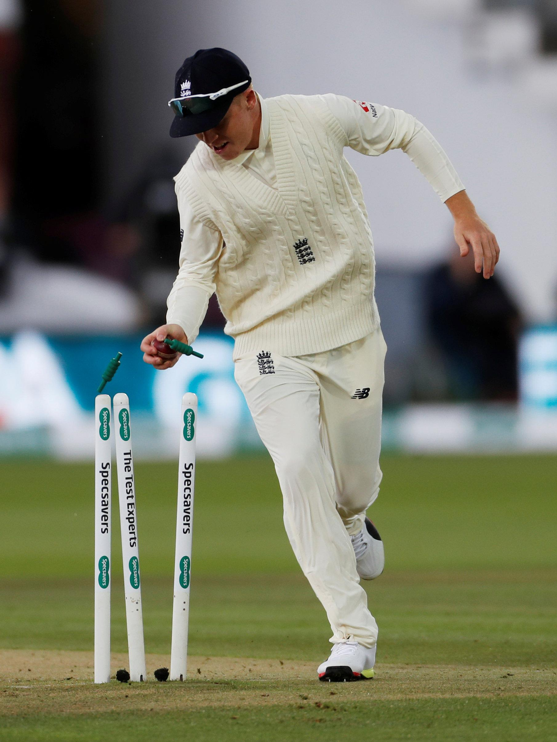 Ollie Pope whipped the bails off as Che Pujara lost his wicket