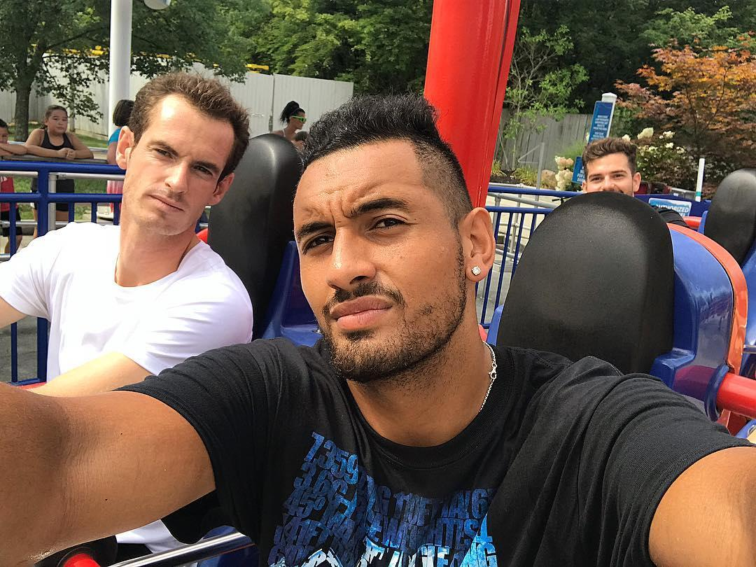 Andy Murray joined Nick Kyrgios on a rollercoaster at the weekend, but has been told to the remove the video immediately