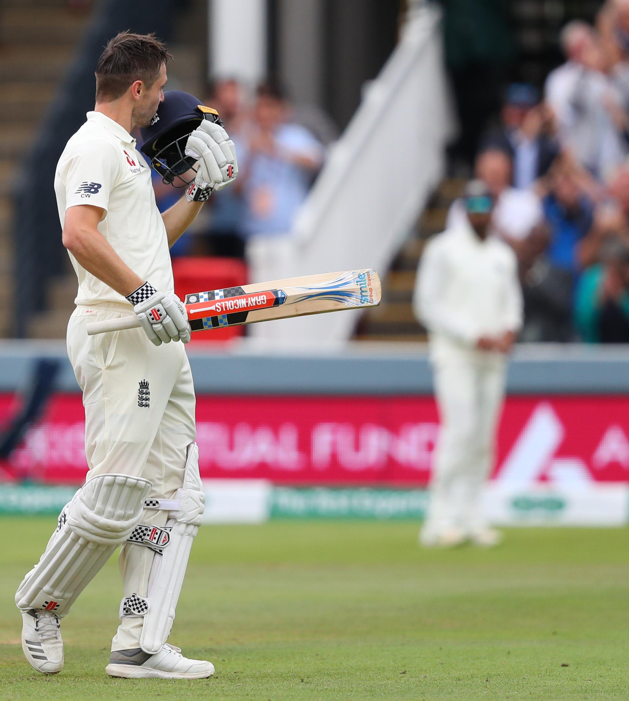 The all-rounder kissed his helmet upon reaching his century