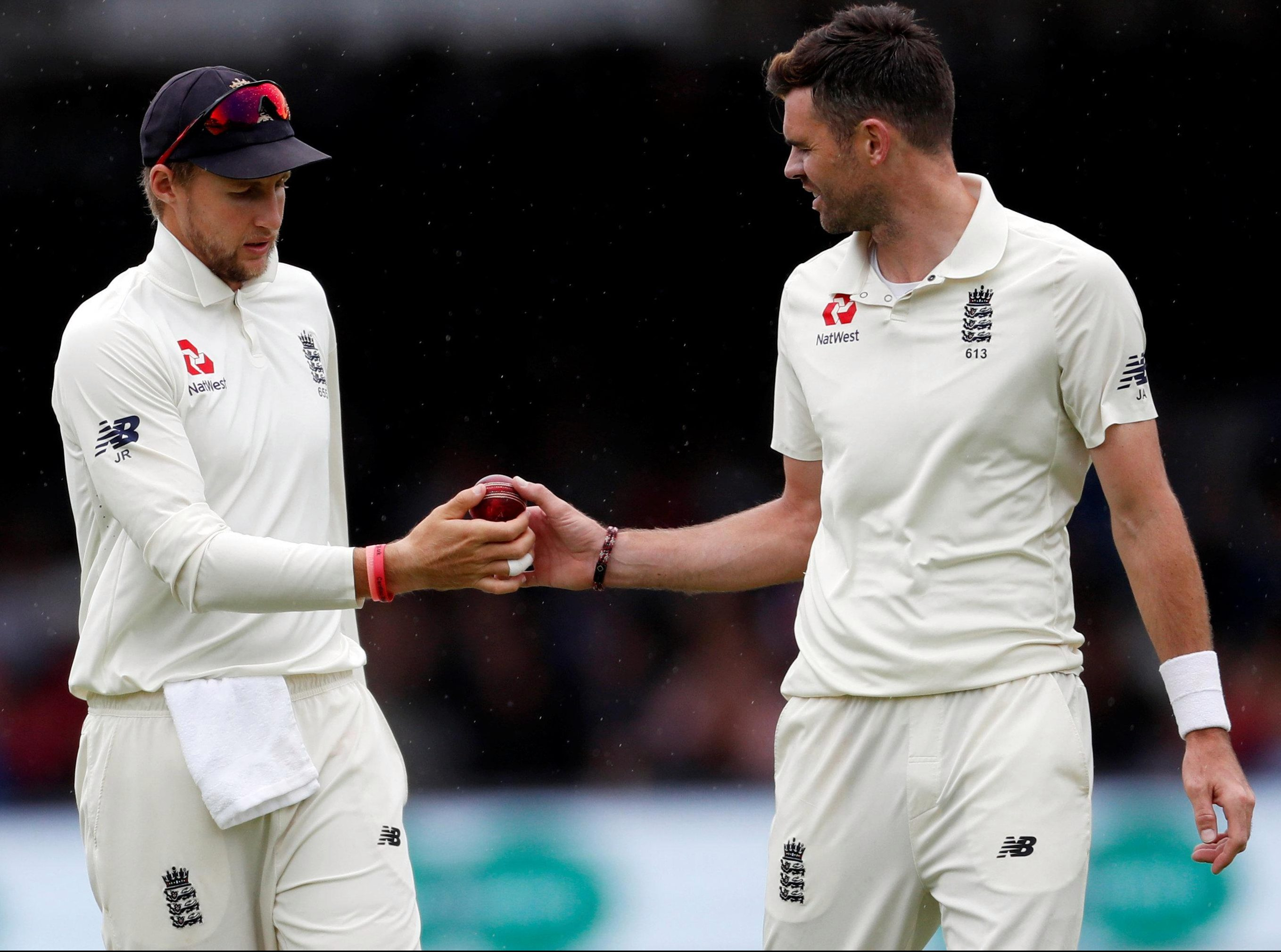 James Anderson is the man who always can for England - as skipper Joe Root hands him the ball during an emphatic Second Test win for England