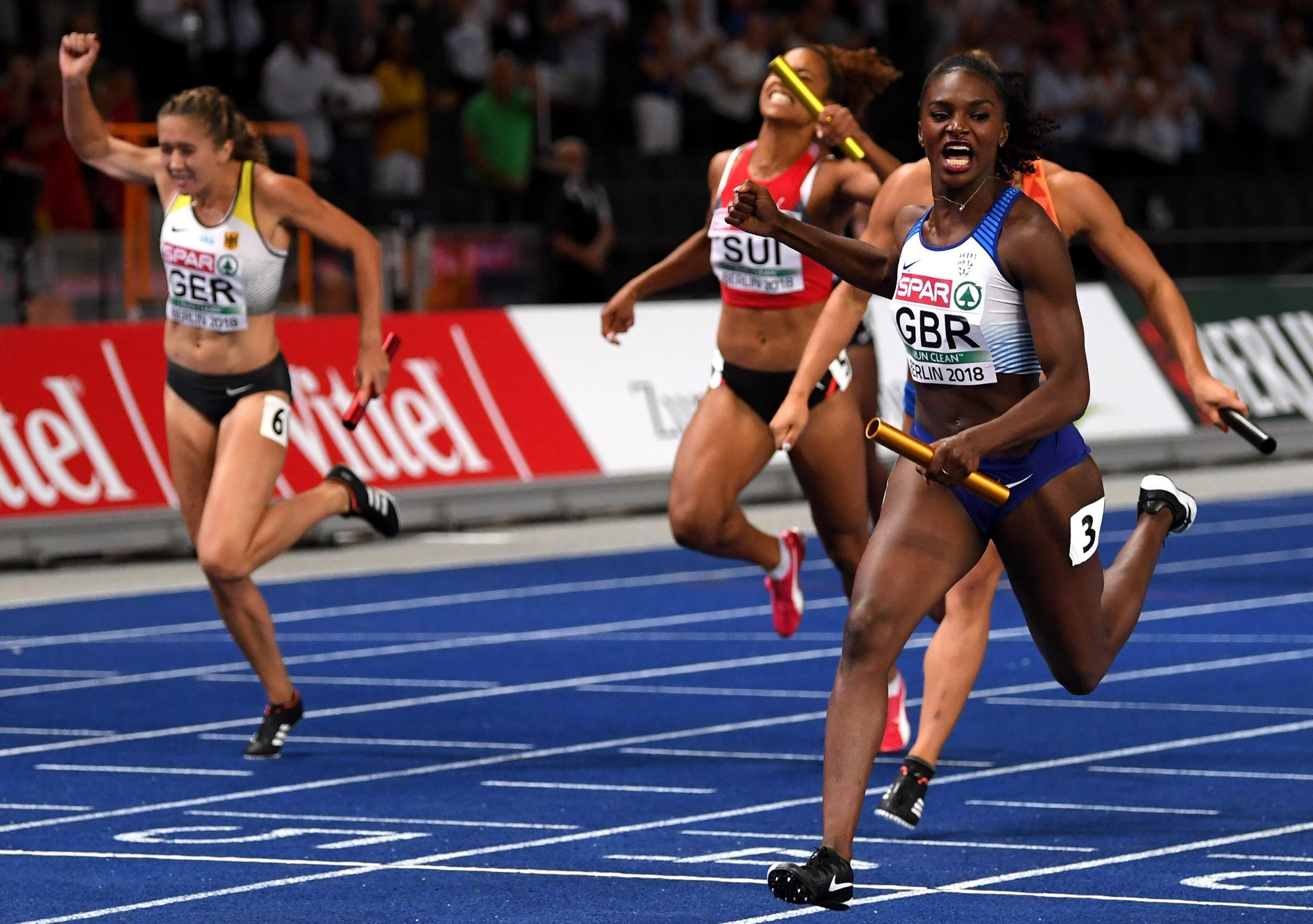 The British sprint hero raced home to win the relay