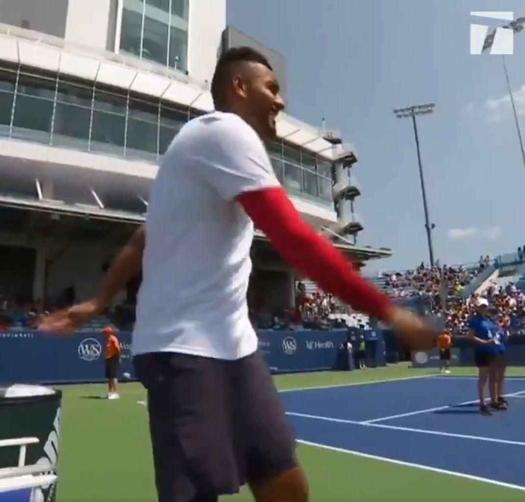 Nick Kyrgios only realised his mistake after making in onto court
