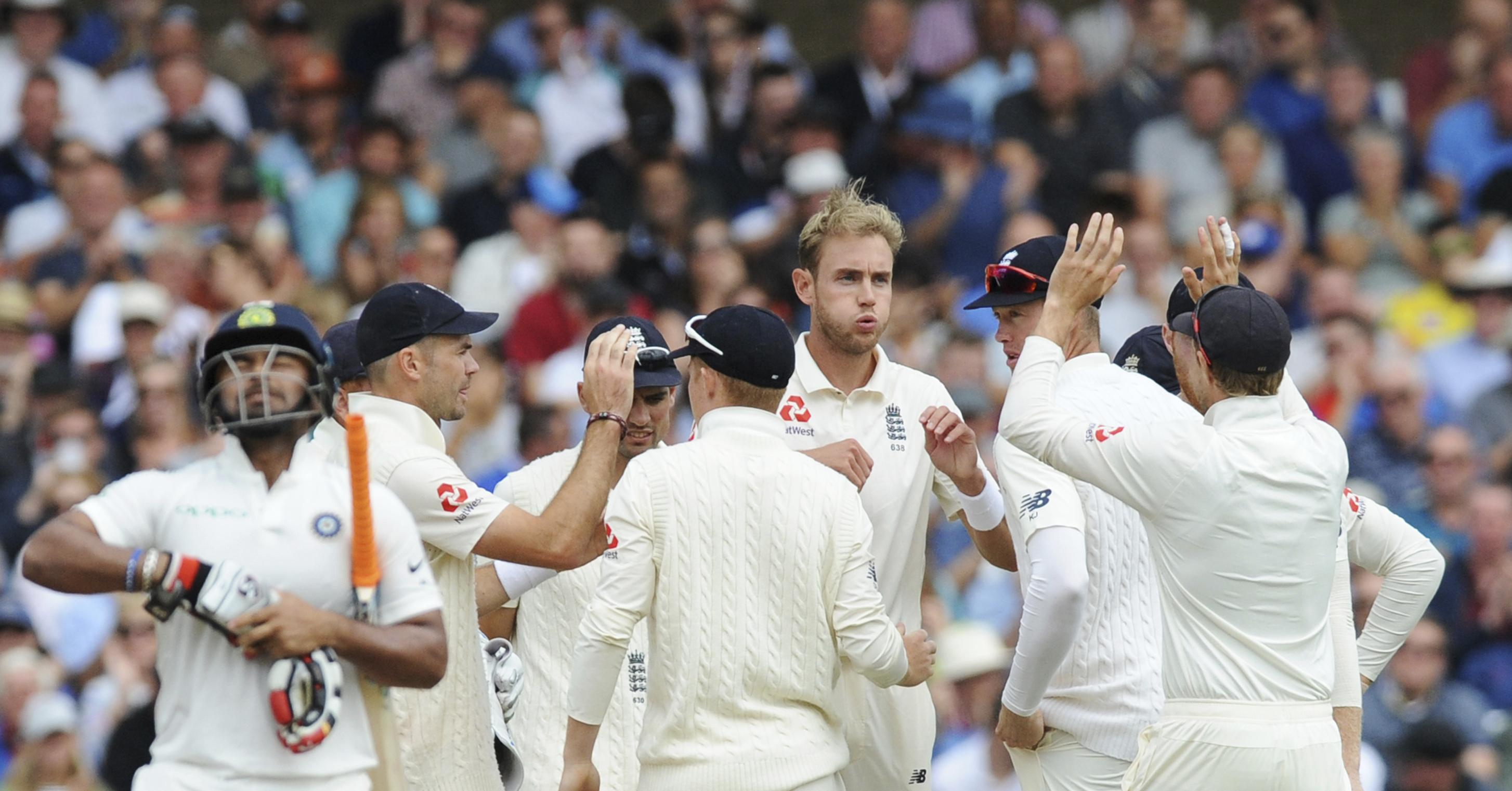 Stuart Broad has been fined 15 per cent of his match fee for a clash with Rishabh Pant