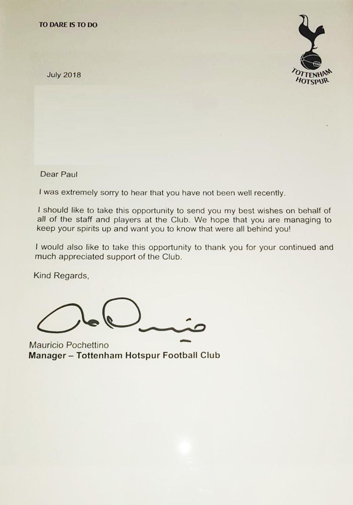 Mauricio Pochettino sent a kind letter to a Spurs fan in poor health