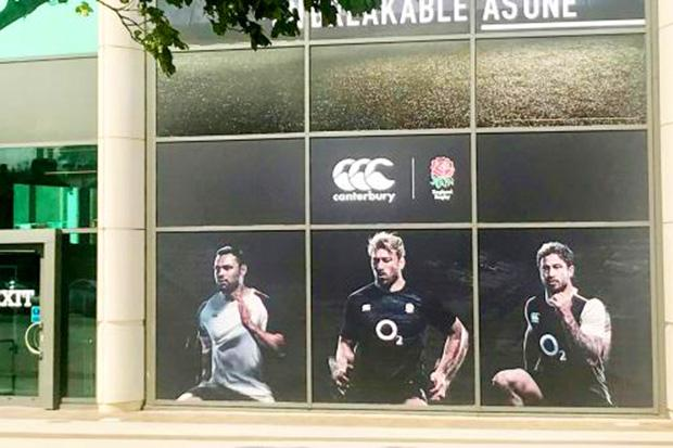 Danny Cipriani's image is on a promotional poster outside Twickenham, despite his five-hour disciplinary hearing in West London