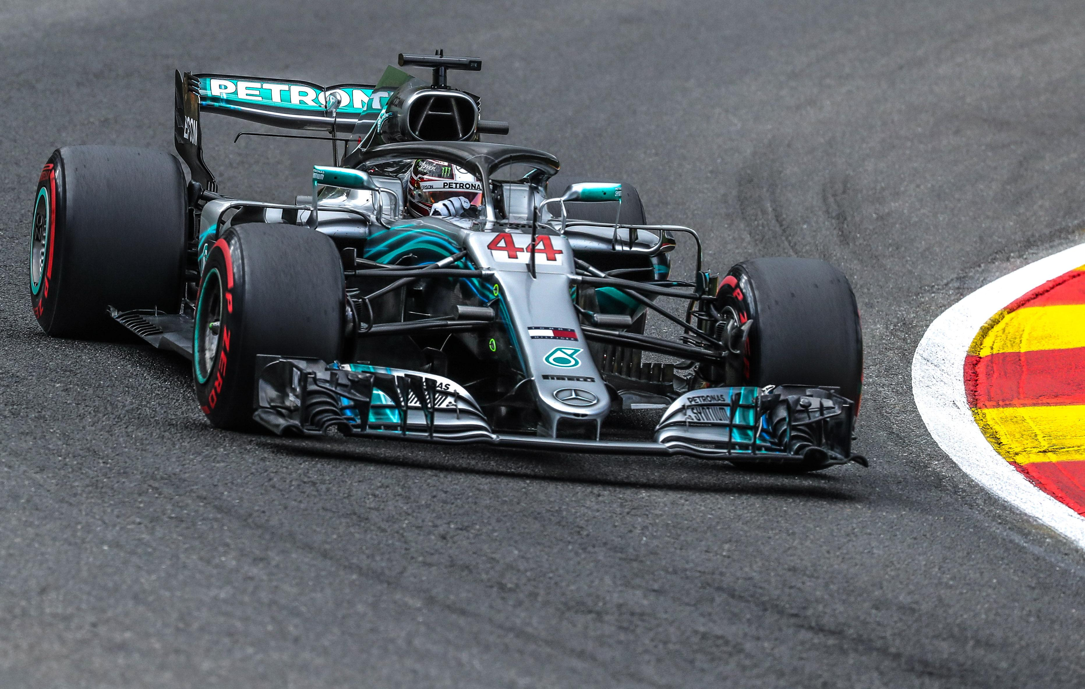 Lewis Hamilton will start the Belgian Grand Prix from pole position after impressing in the rain
