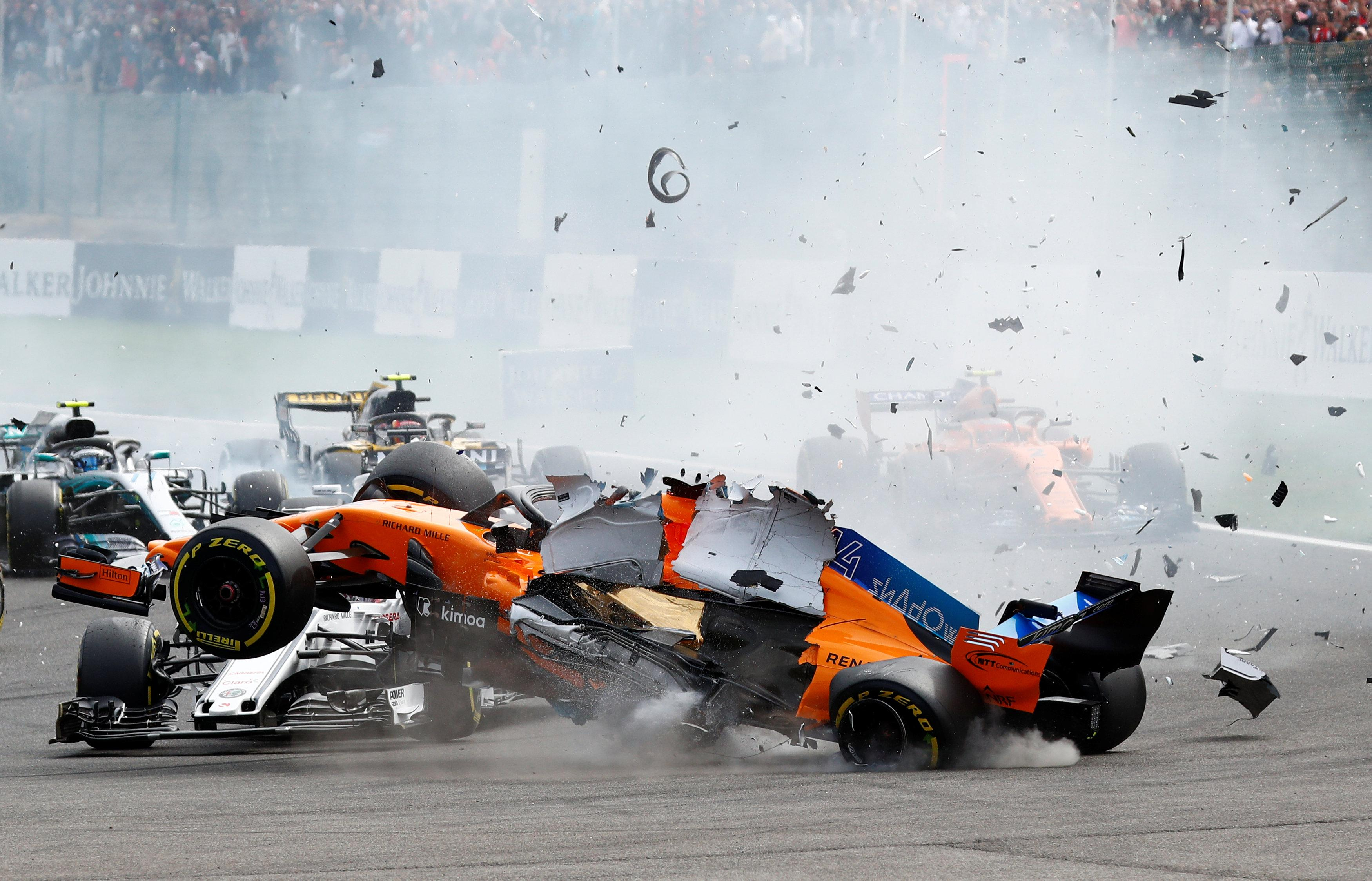 The start of the Belgian GP was thrown into chaos at the very first corner