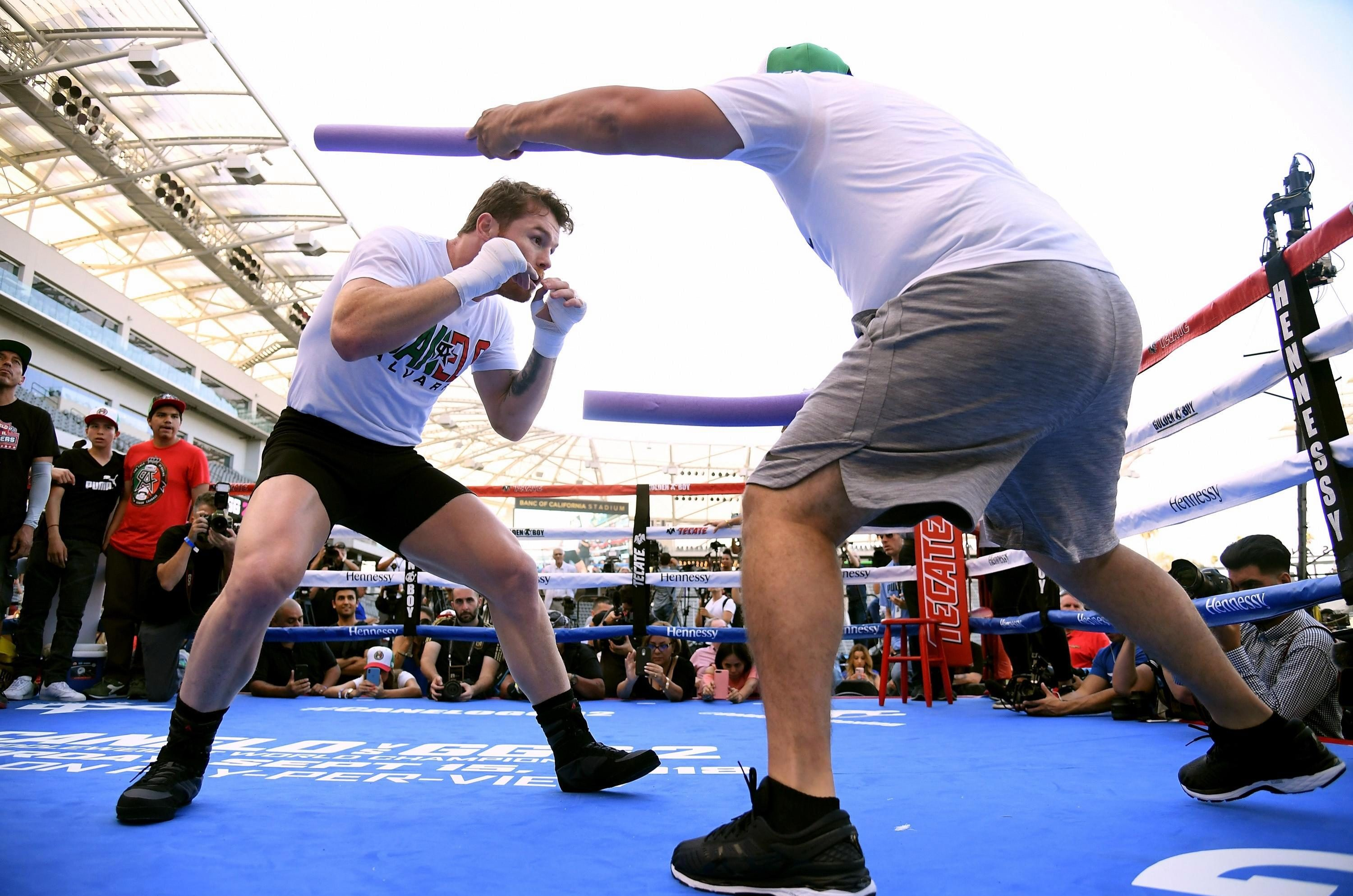 Both fighters took part in a public workout today ahead of the fight