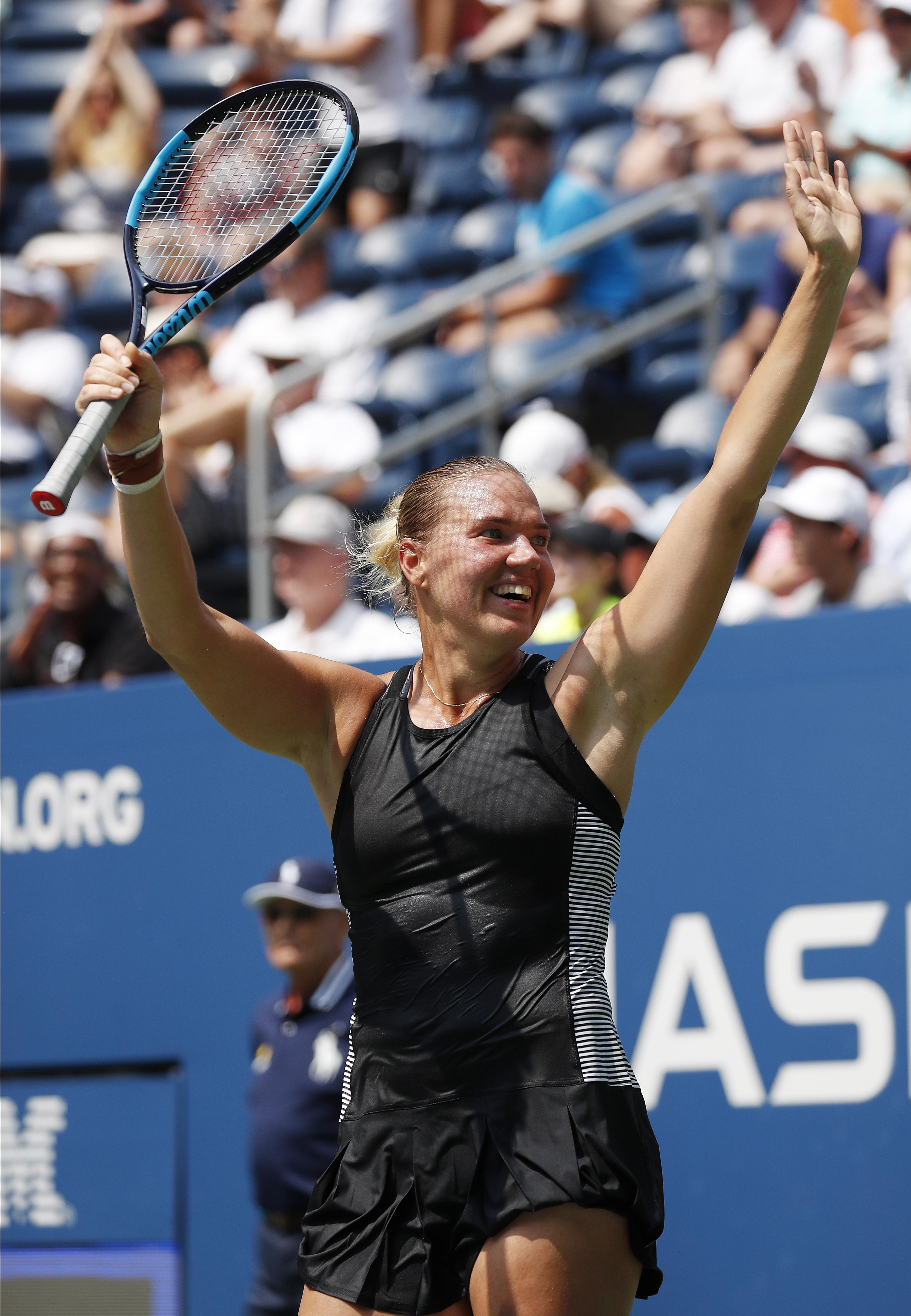 Kanepi, 33, reacts after knocking out world number one Halep at Flushing Meadows
