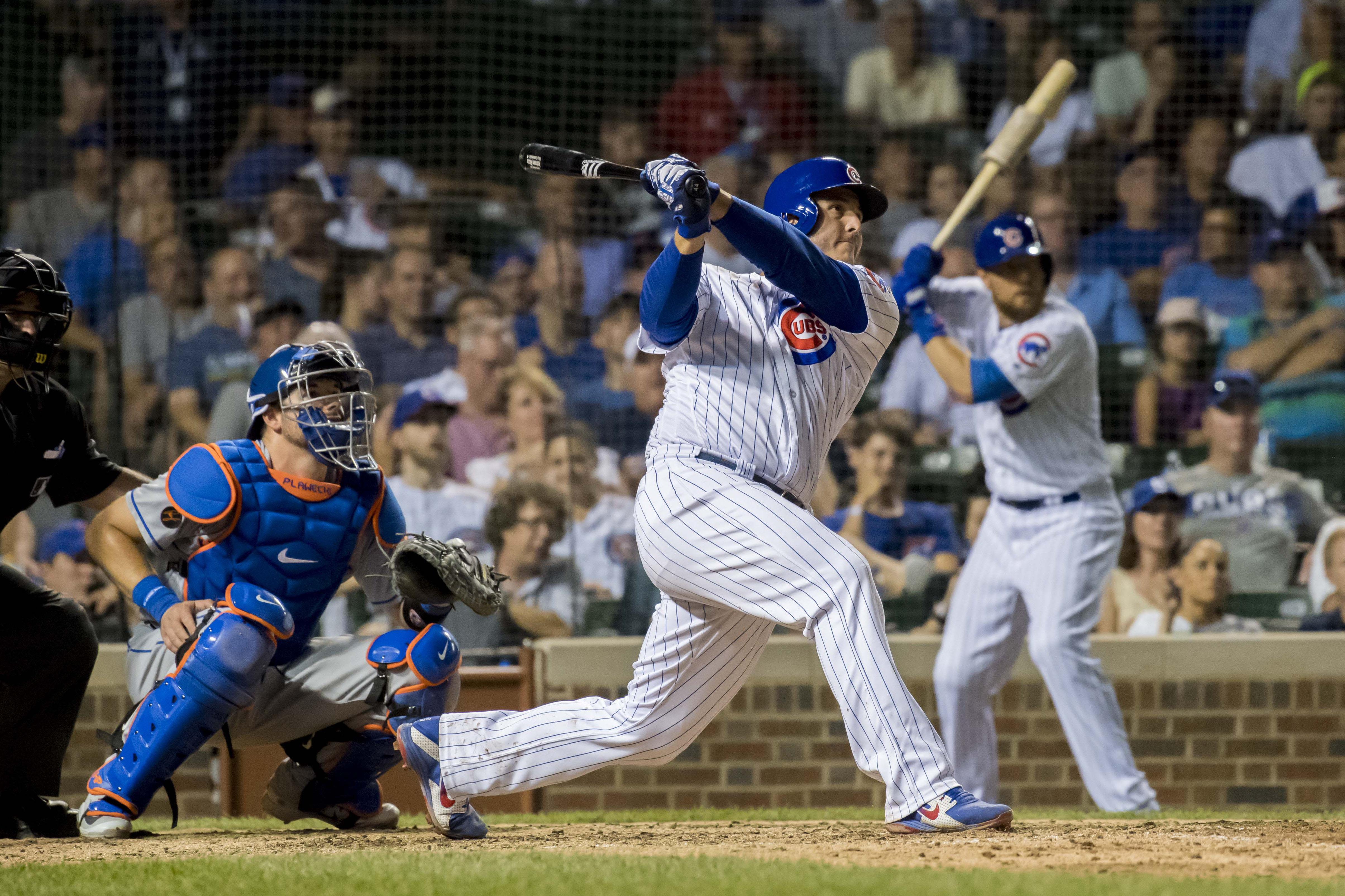 Anthony Rizzo hit the foul ball into the stands before helping the Cubs to a 7-4 win
