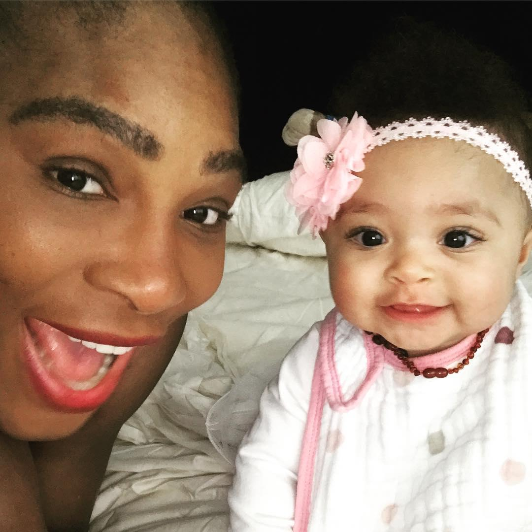 Serena Williams gave birth to her daughter on September 13 last year - her first child