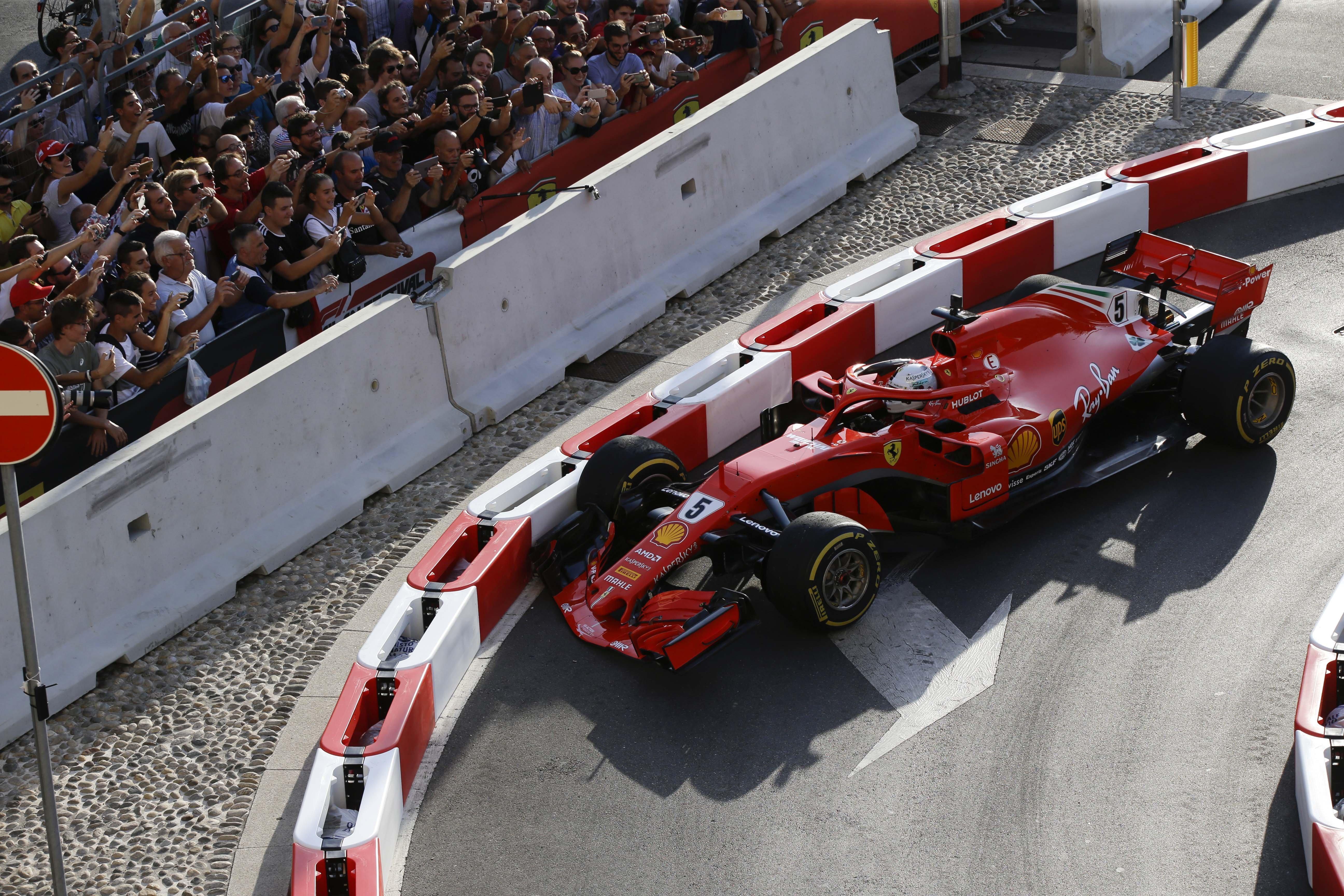 Sebastian Vettel suffered the embarrassment of crashing his Ferrari into the barrier