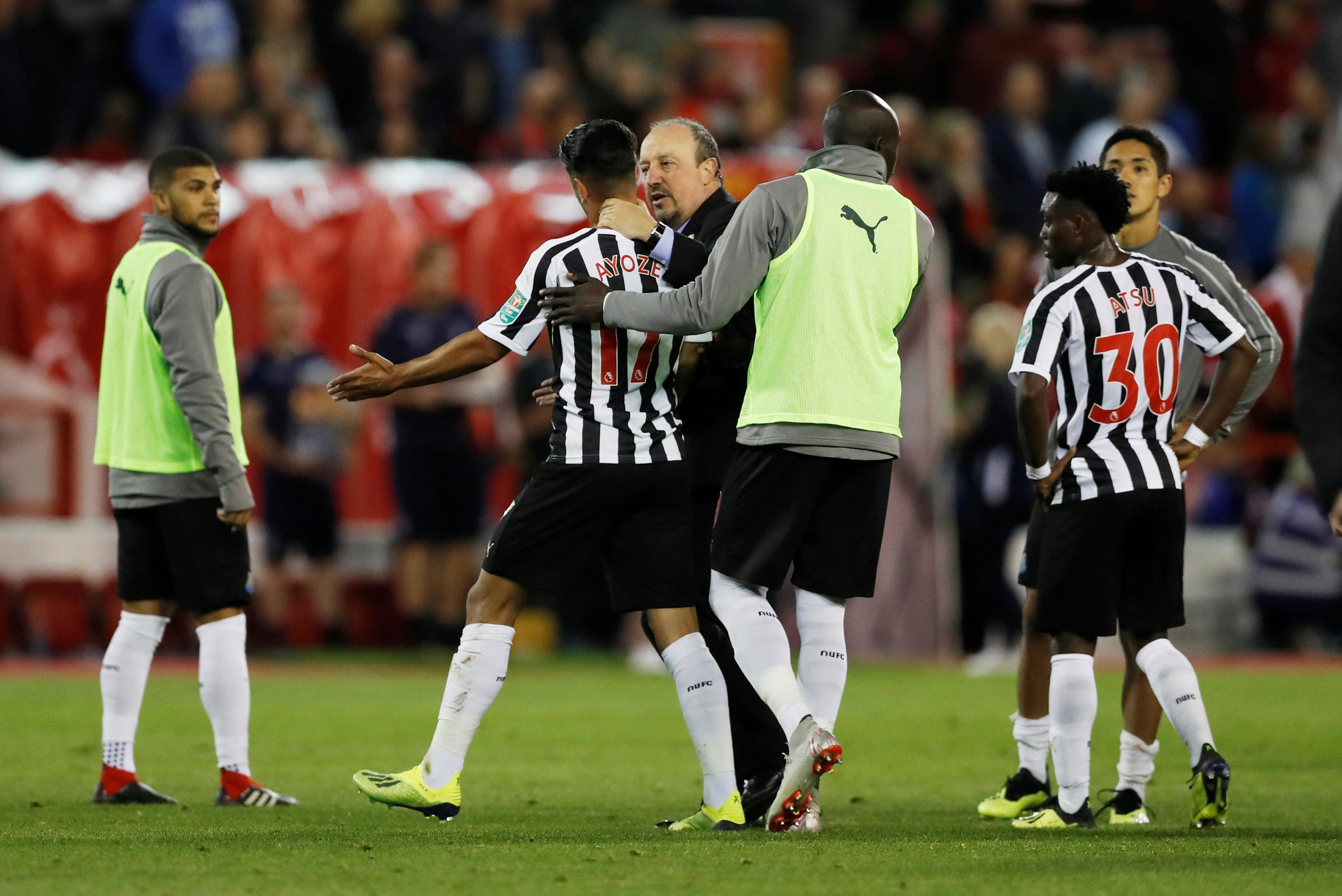 Perez had to be dragged away by Newcastle manager Rafa Benitez