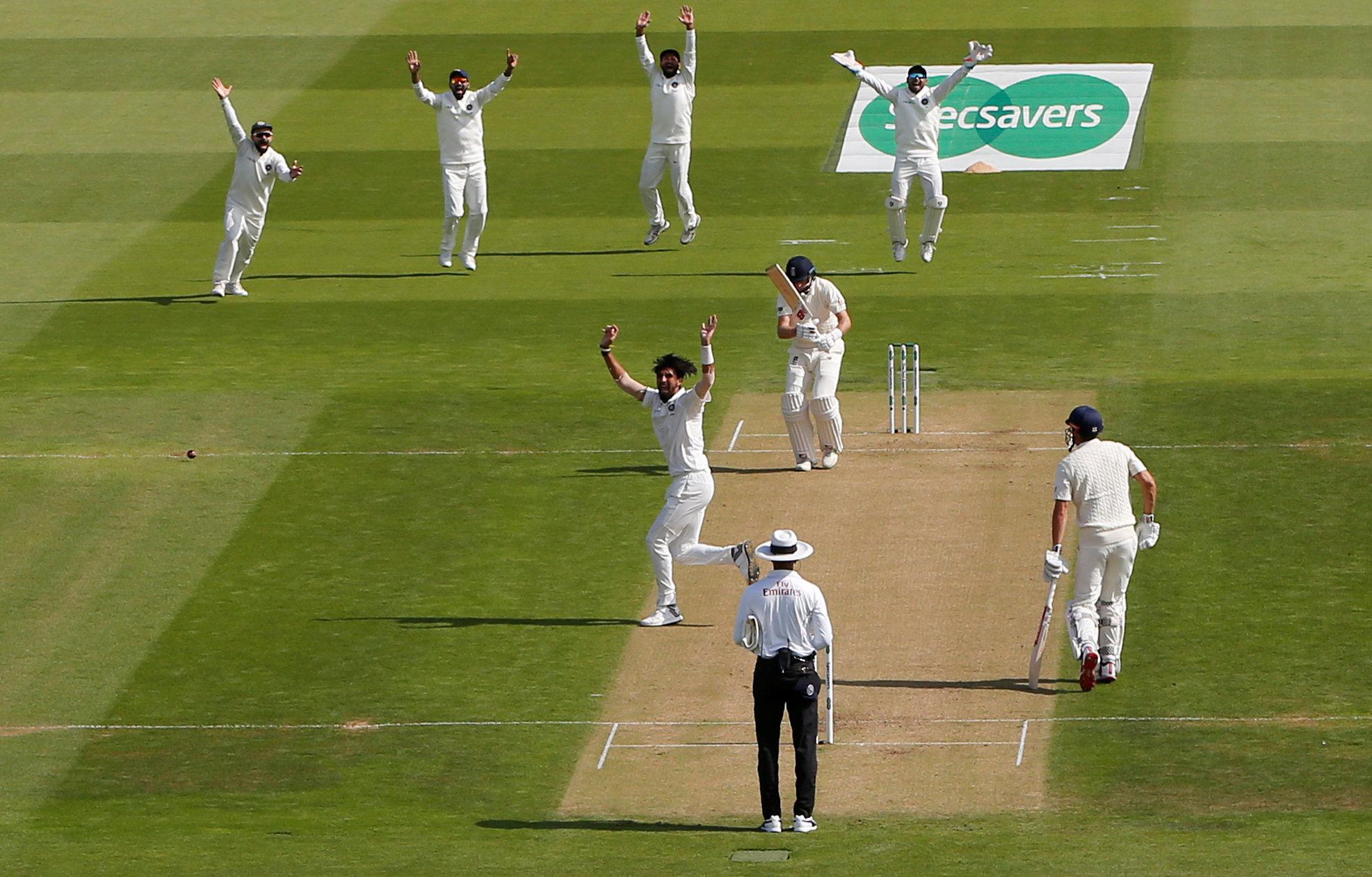 Joe Root survived an early lbw reprieve thanks to a no-ball but was soon trapped in front again