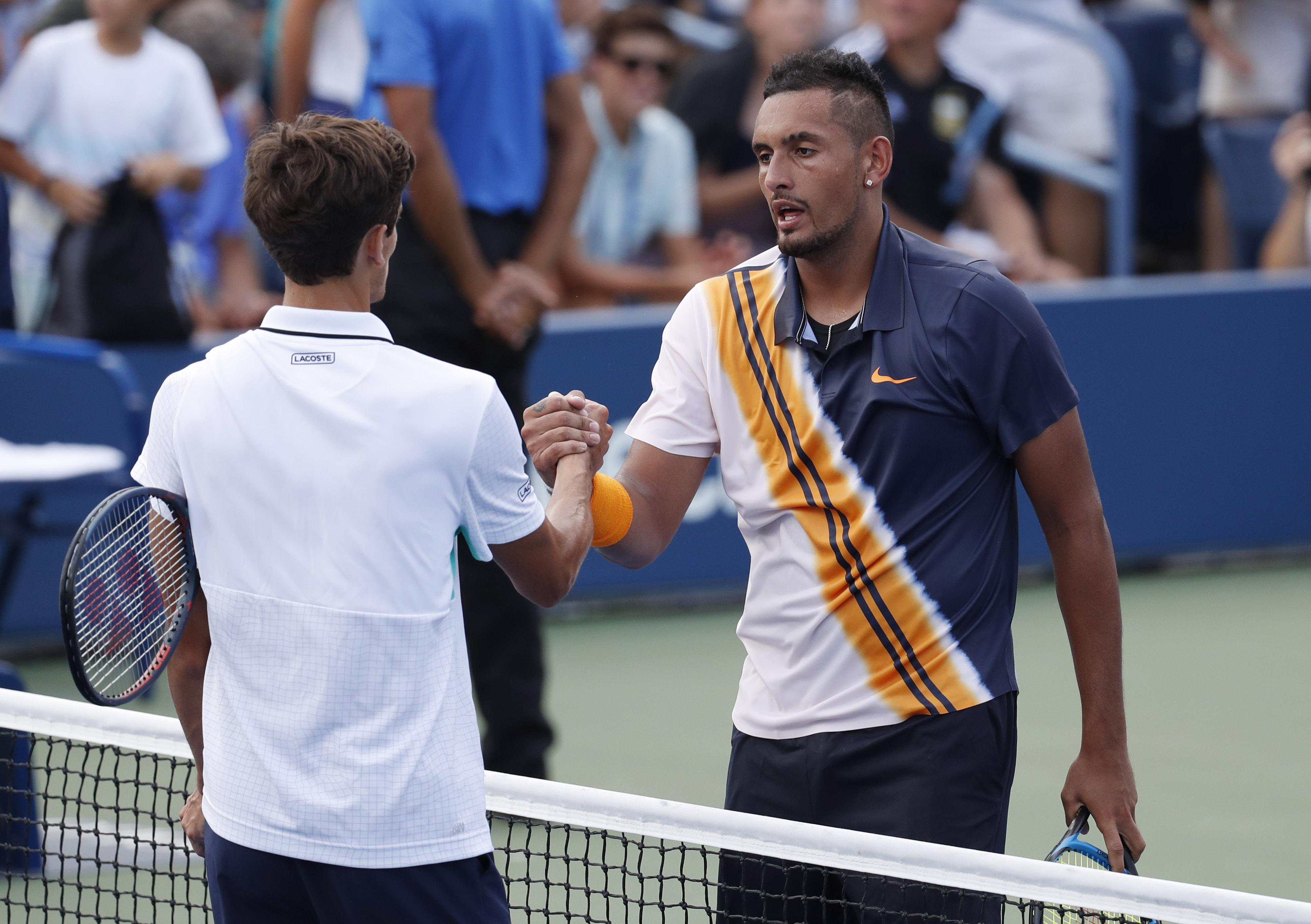 Nick Kyrgios came from a set down to defeat Pierre-Hughes Herbert at the US Open