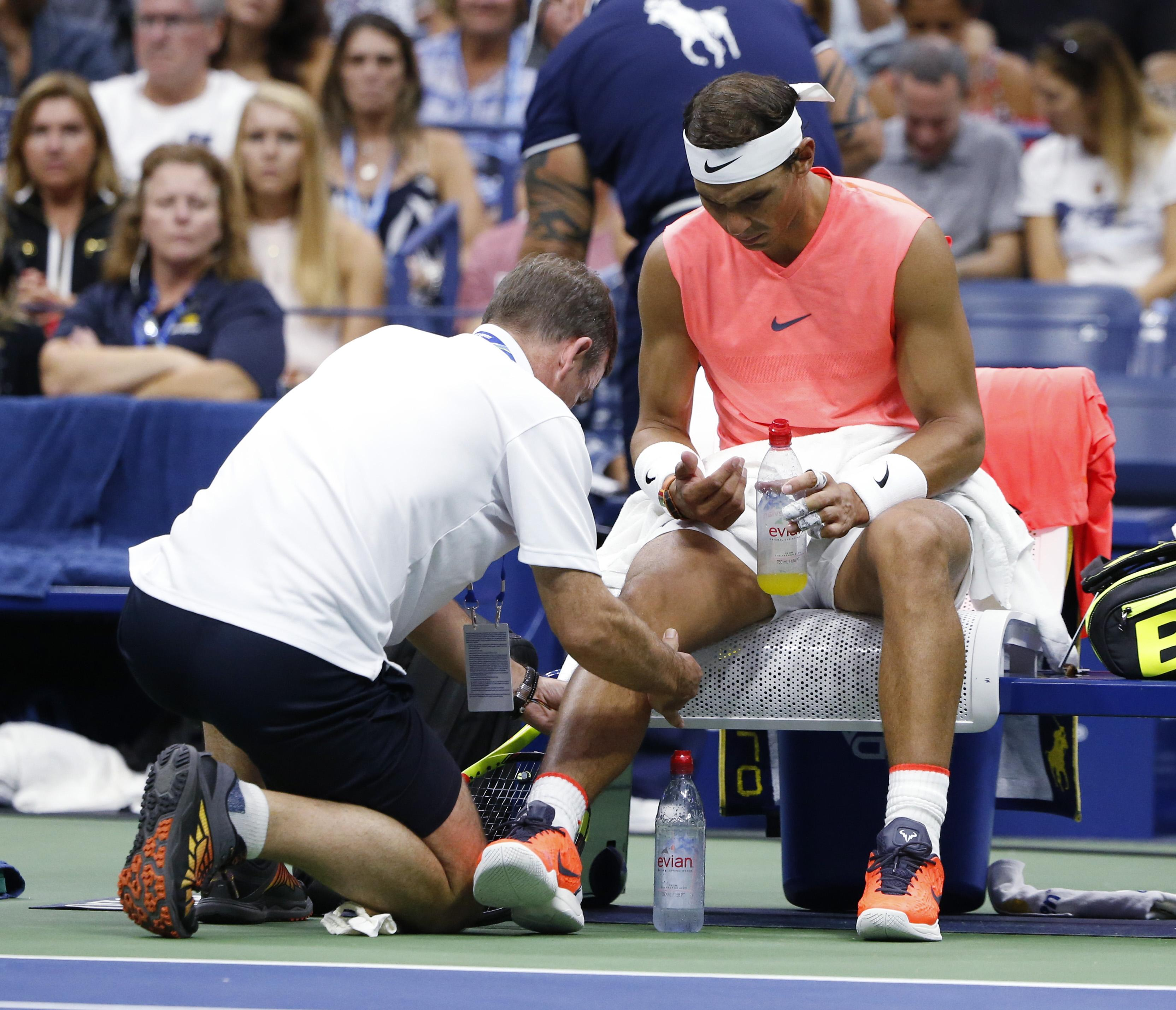 Nadal received treatment on his right knee in the early stages and had it strapped up which appeared to help his movement