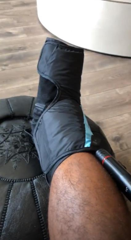 Johnson had to get a compression boot to help reduce the swelling on his joint