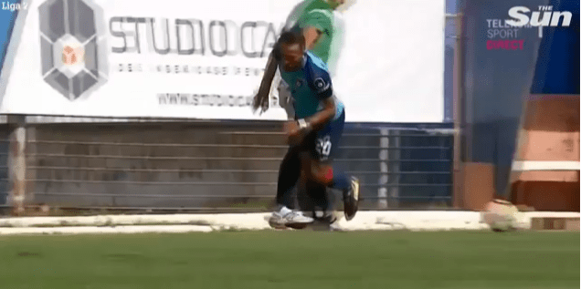 Emil Sandoi brings down a Chindia Targoviste winger on the touchline