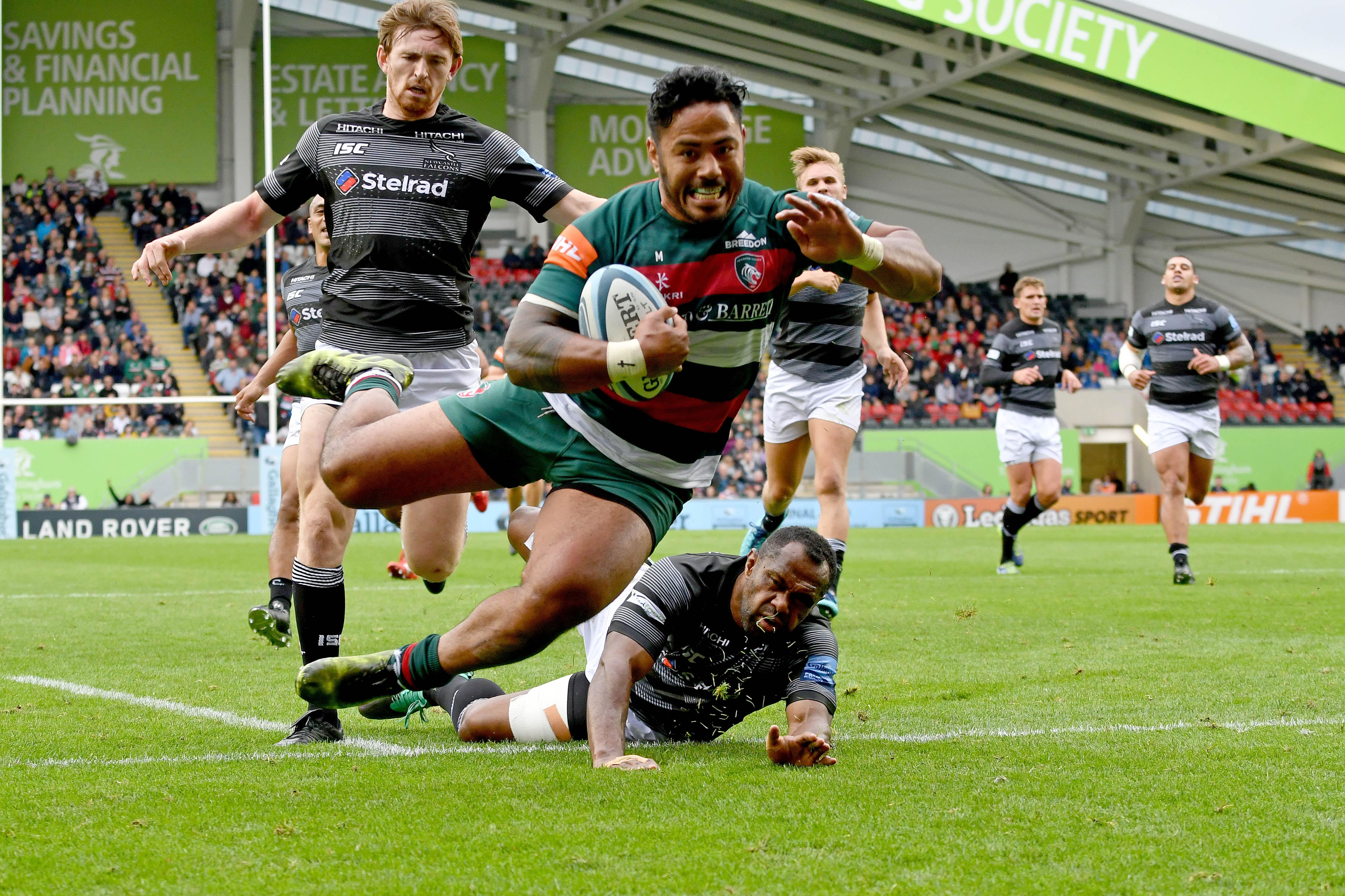Manu Tuilagi scored a wonder-try against Newcastle Falcons on his last run-out at Welford Road
