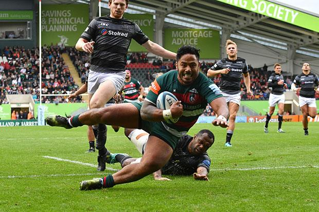 Fit-again Manu Tuilagi touches down for Leicester Tigers after blitzing half the pitch and running over two Newcastle Falcons players this month