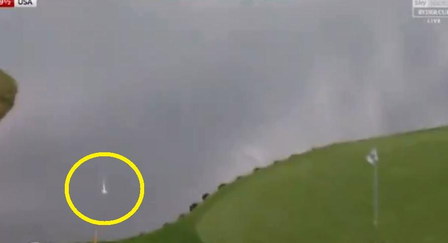 Phil Mickelson's tee shot on the 16th went straight into the water