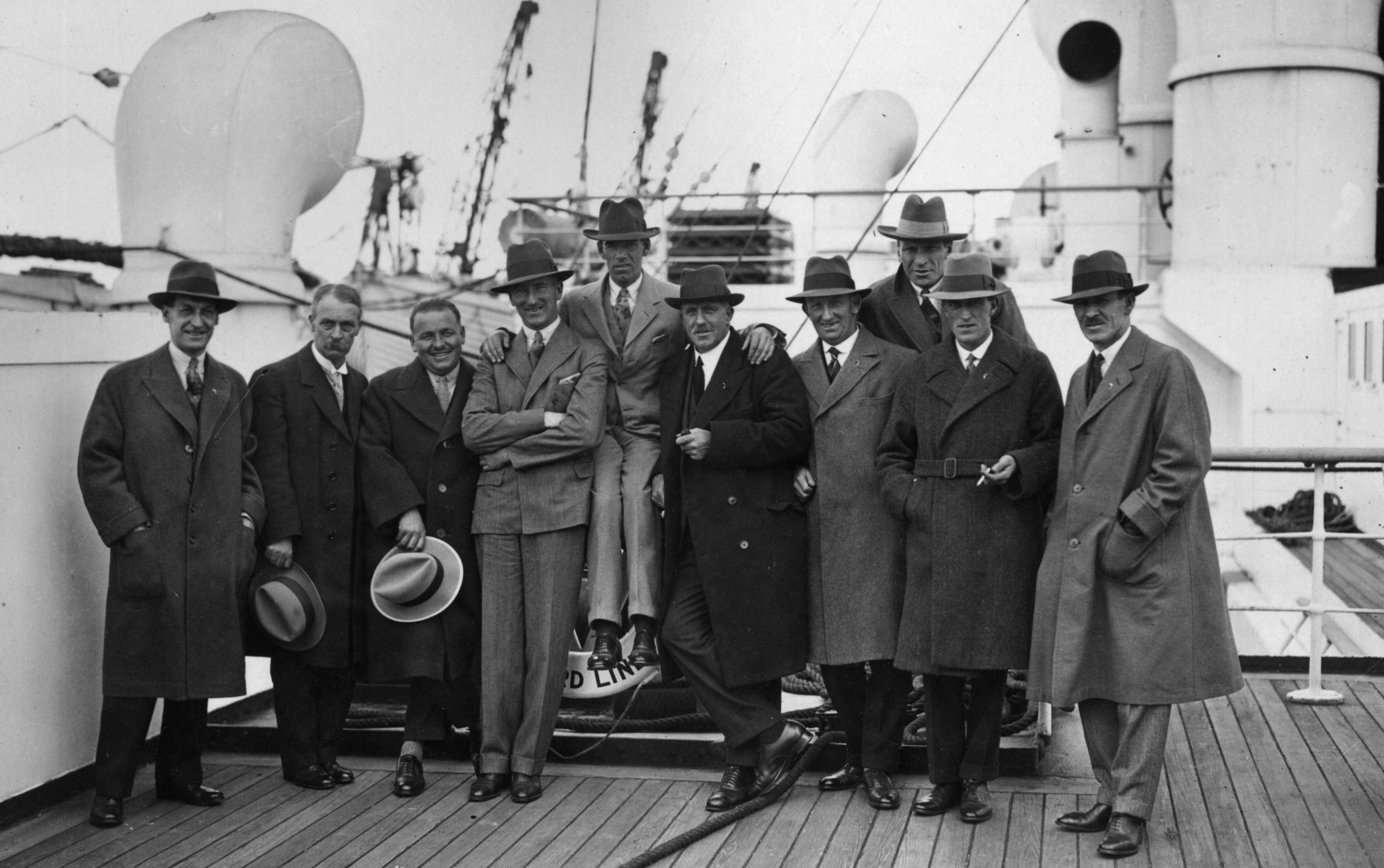 The British Ryder Cup team on Cunard Liner Aquitania on their way to America for the first tournament in 1927