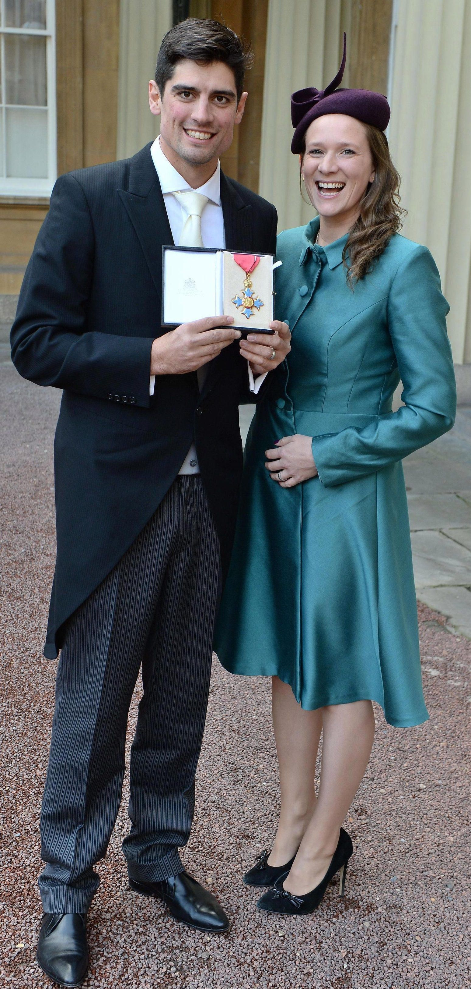 Cook with wife Alice after being awarded an CBE by the Prince of Wales in 2016