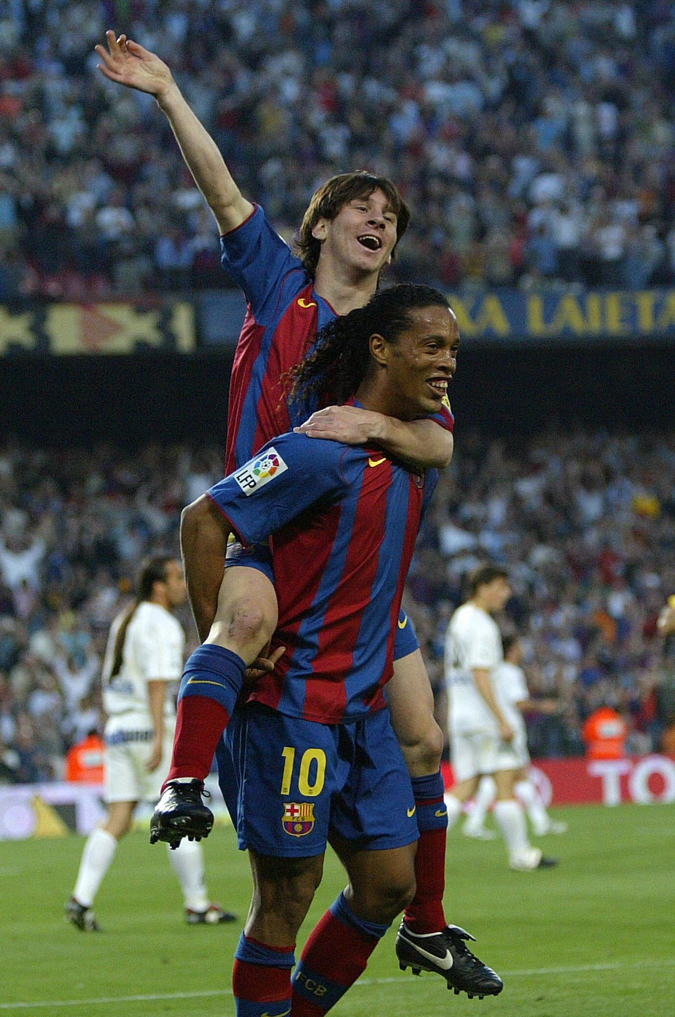 Lionel Messi kicked-off his Barcelona career when Ronaldinho was at the club