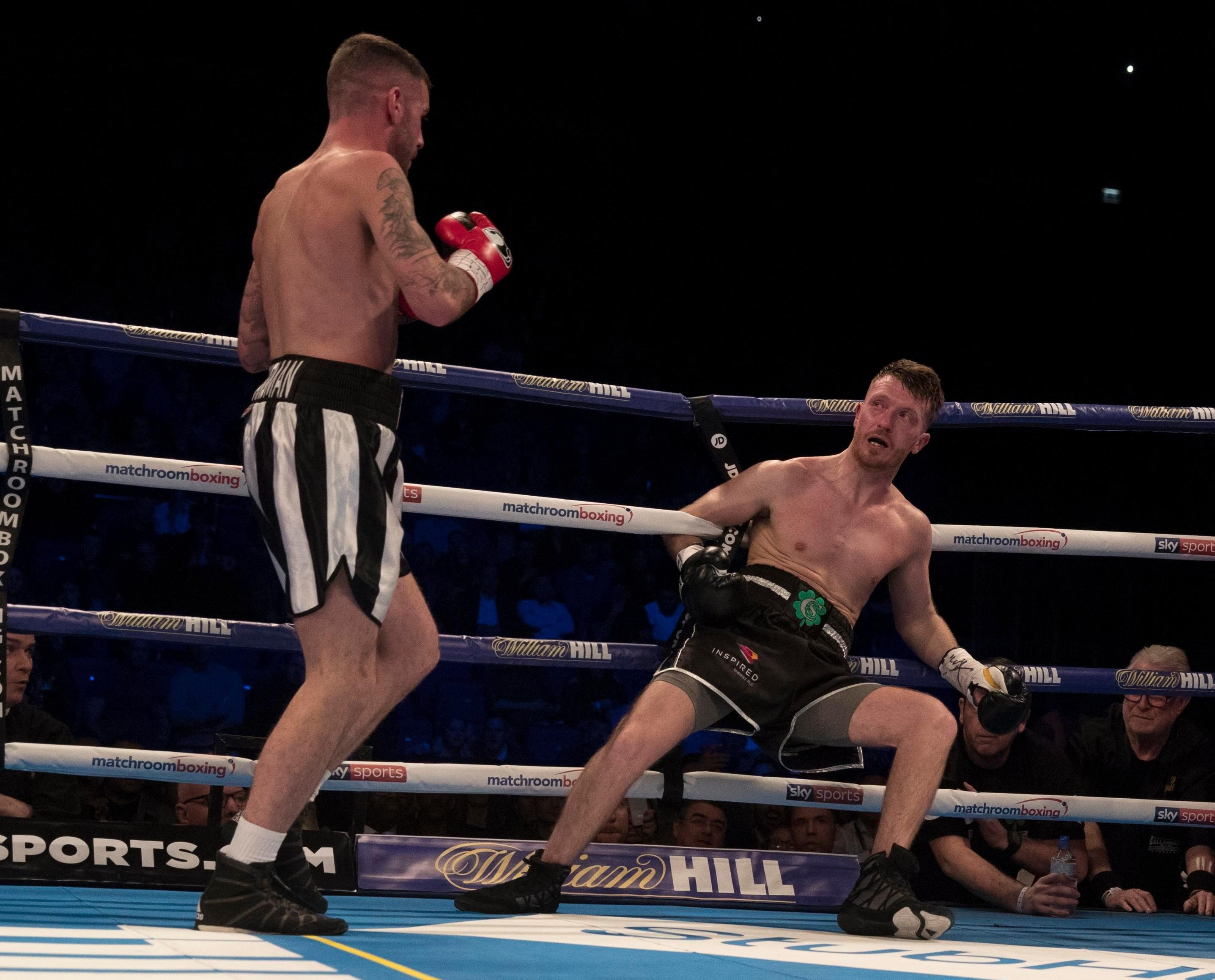 Scott Cardle cannot believe how much power Ritson carries as hes floored in British title fight