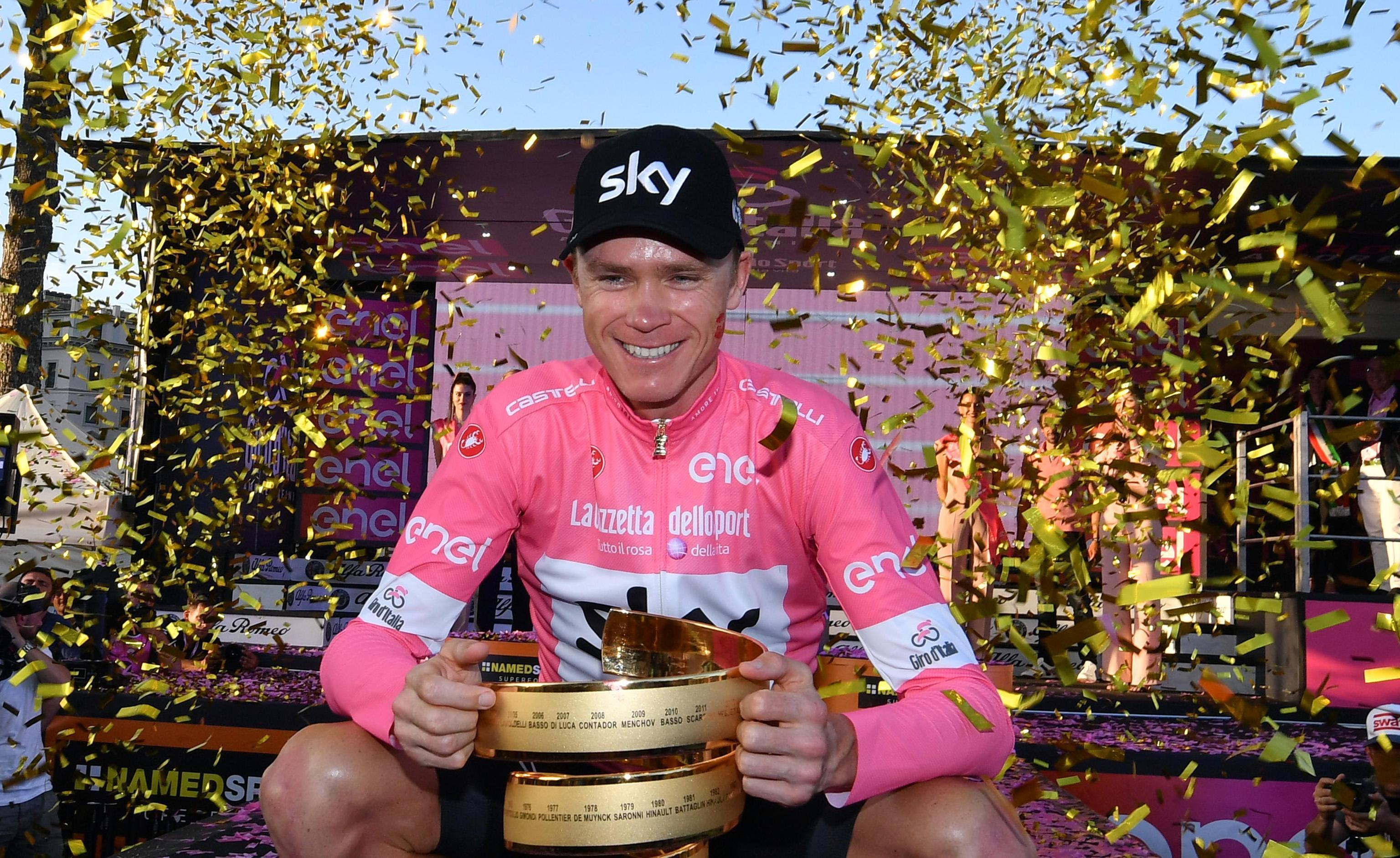 Chris Froome celebrated victory in the Giro d'Italia in May