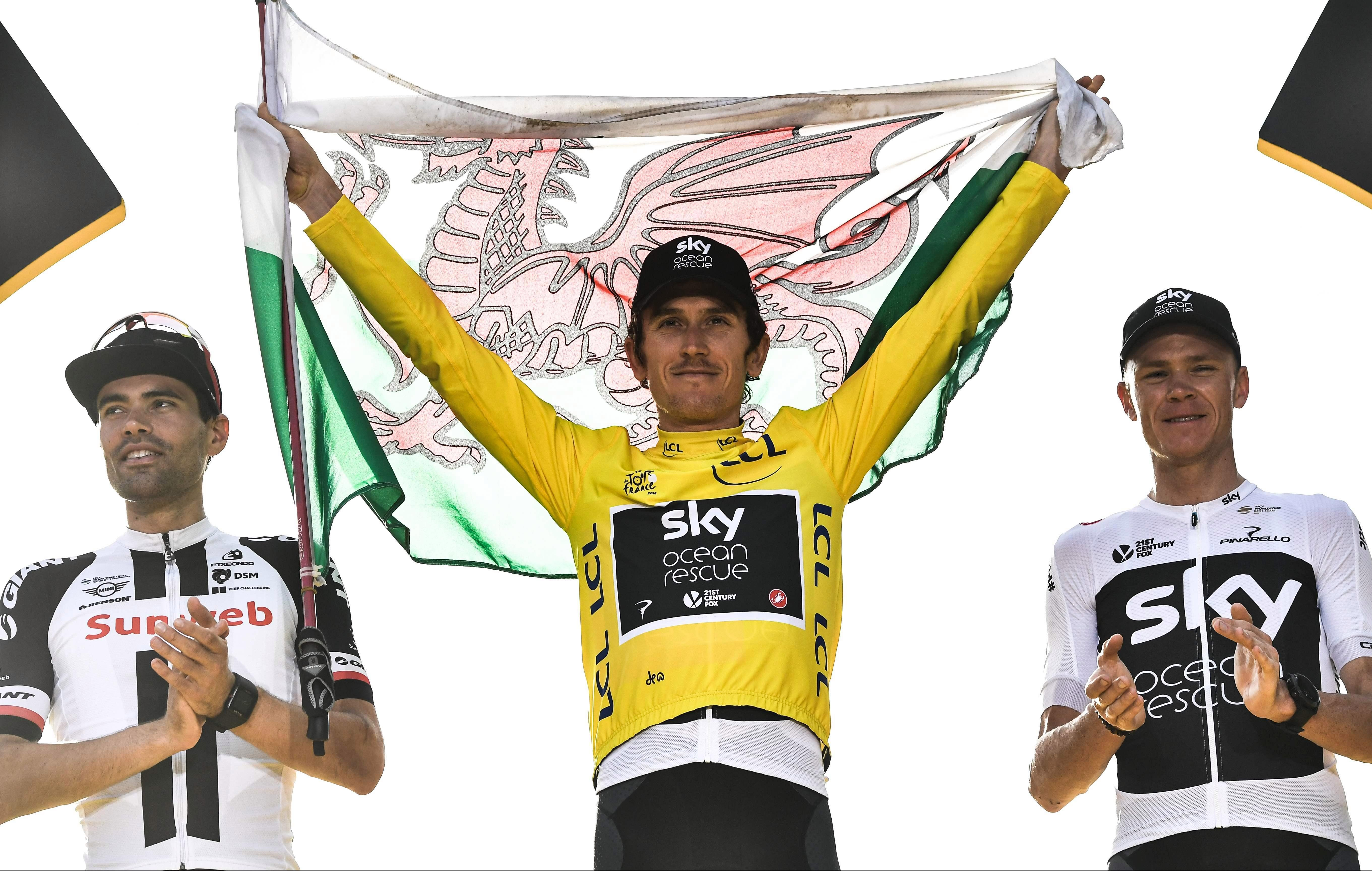 Geraint Thomas triumphed in the Tour de France ahead of Dutchman Tom Dumoulin and third-placed Chris Froome