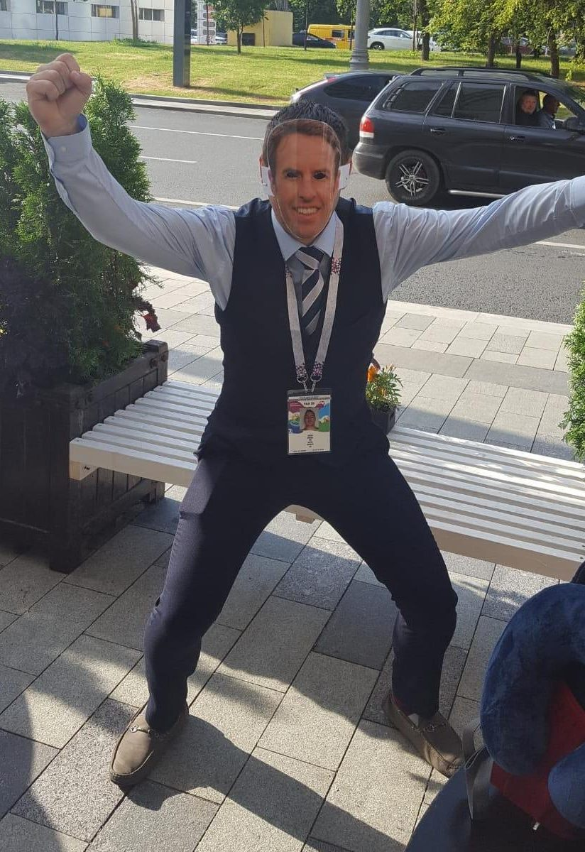 Alex Goode was also spotted dressed as Gareth Southgate as he supported England in Russia this summer