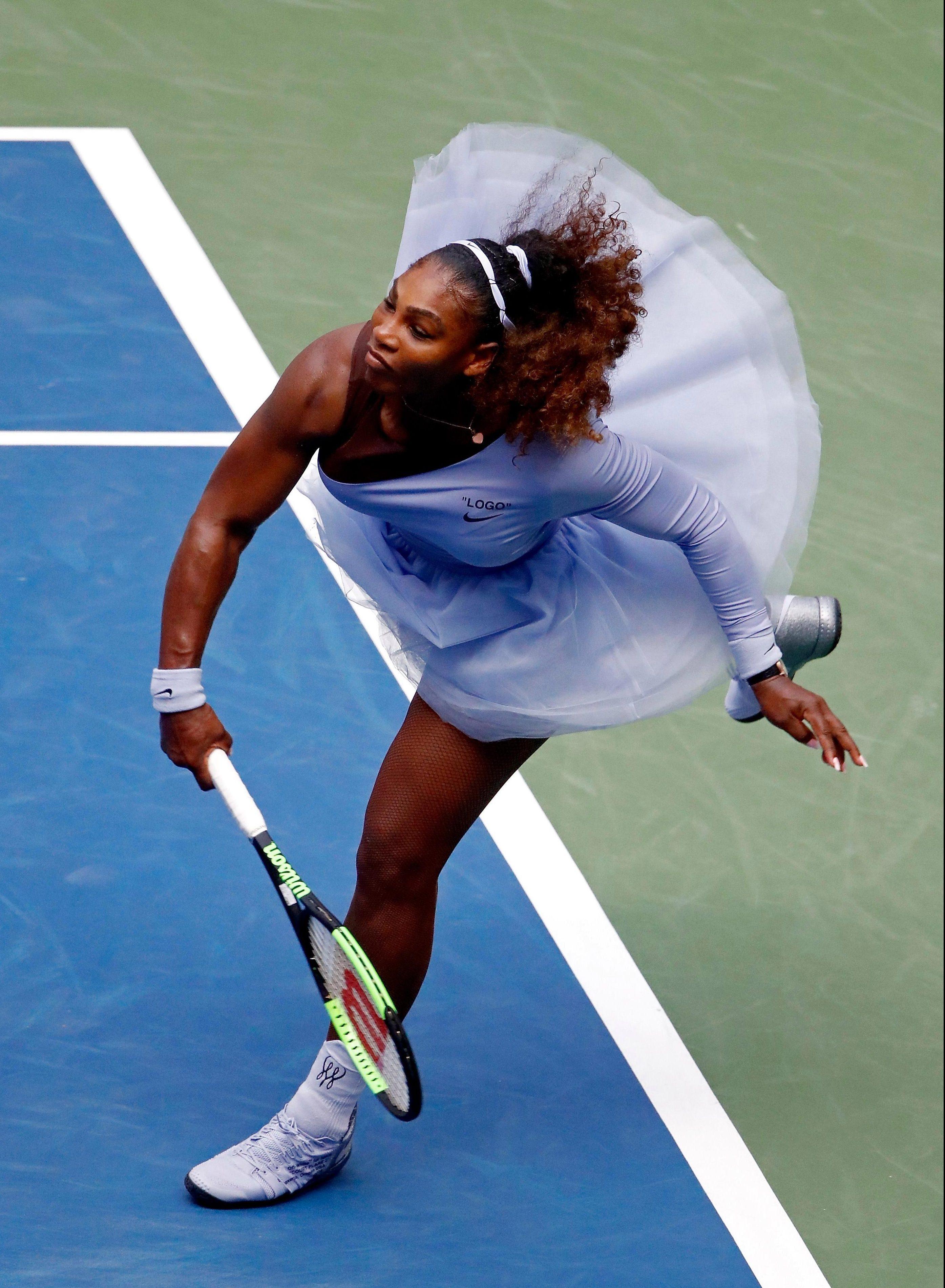 Serena Williams beat Kaia Kanepi 6-0 4-6 6-3 in the US Open fourth round