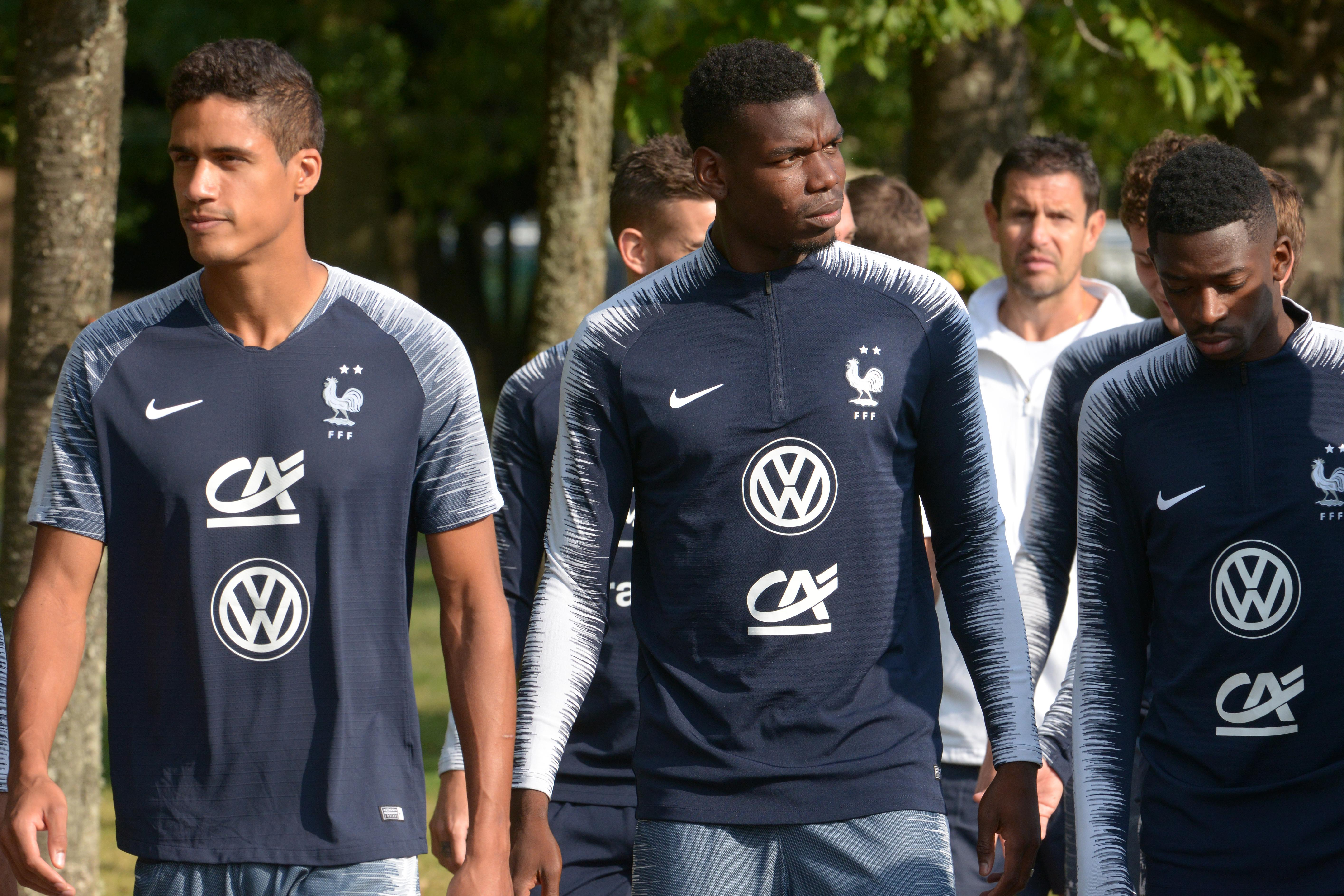 Pogba, middle, is currently on international duty with France