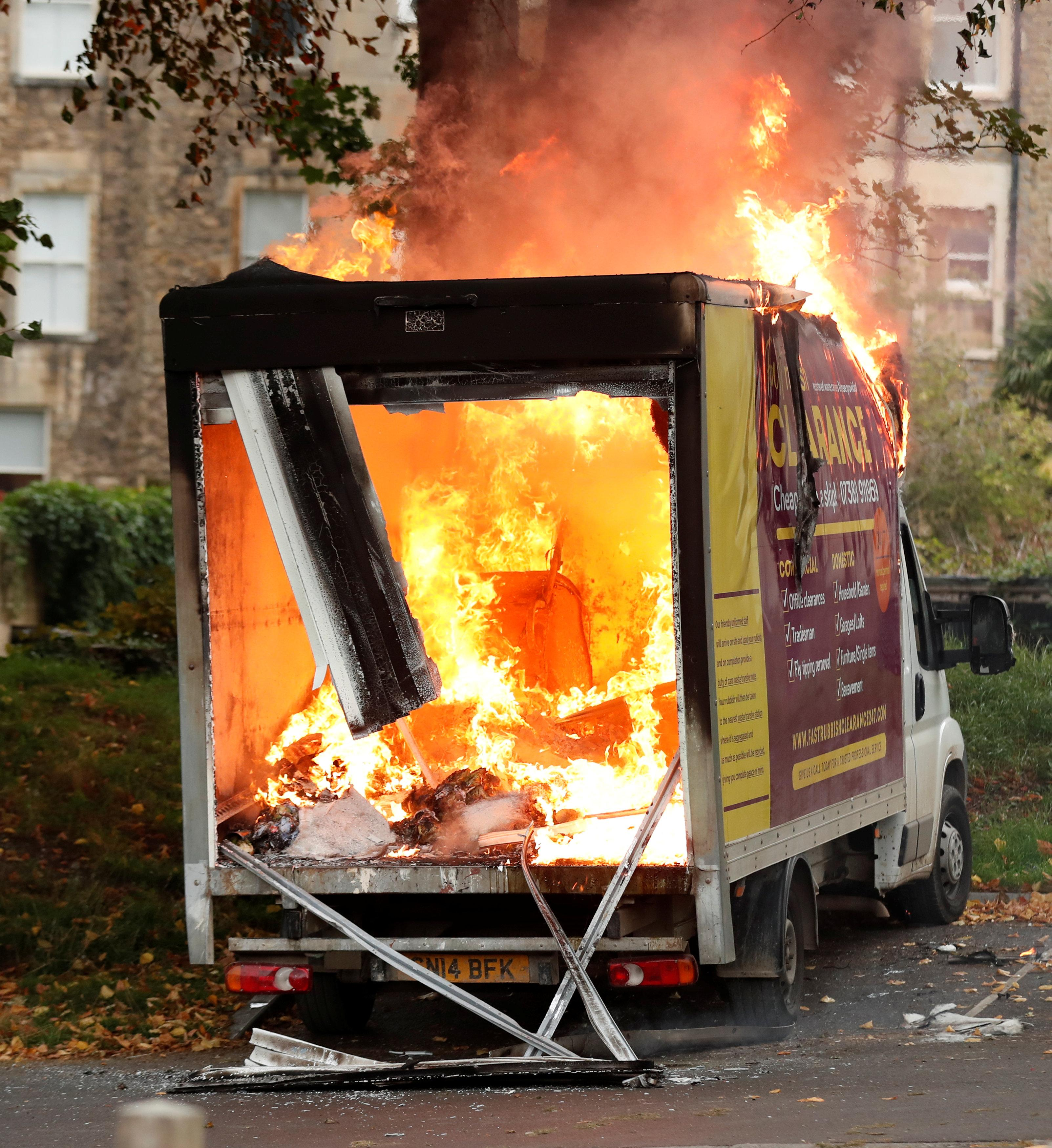 This is the terrifying moment a van caught fire outside a rugby stadium